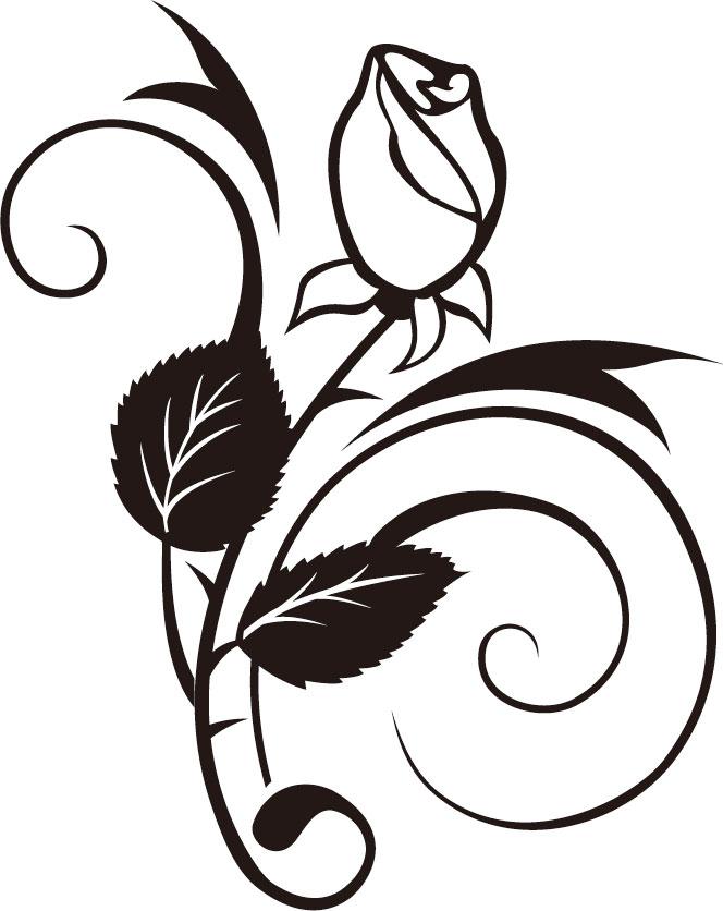 花のフリーイラスト,薔薇・白黒モノクロ