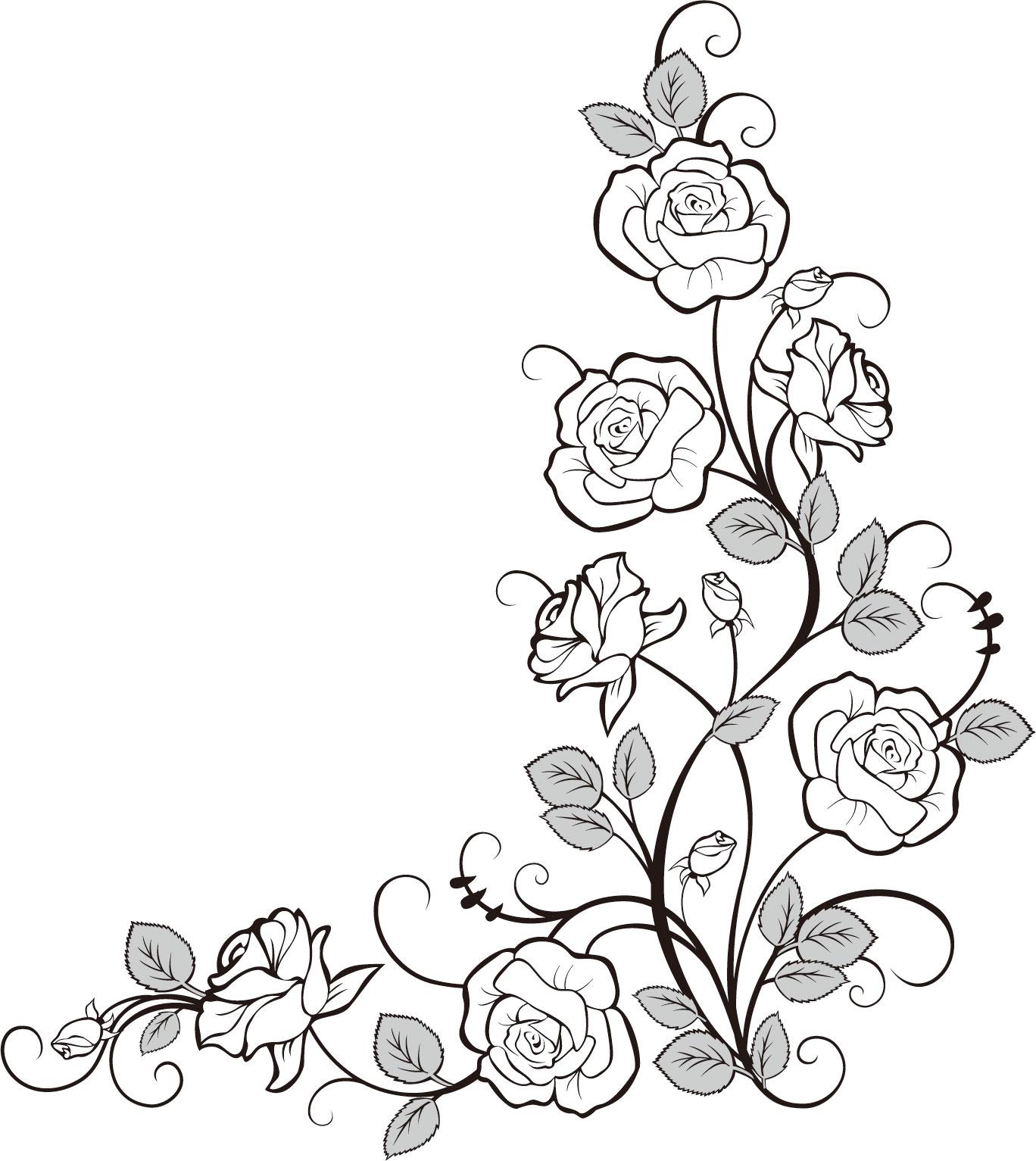 Line Art Flower Border : バラのイラスト・画像no 『バラの装飾素材・コーナー用』/無料のフリー素材集【百花繚乱】