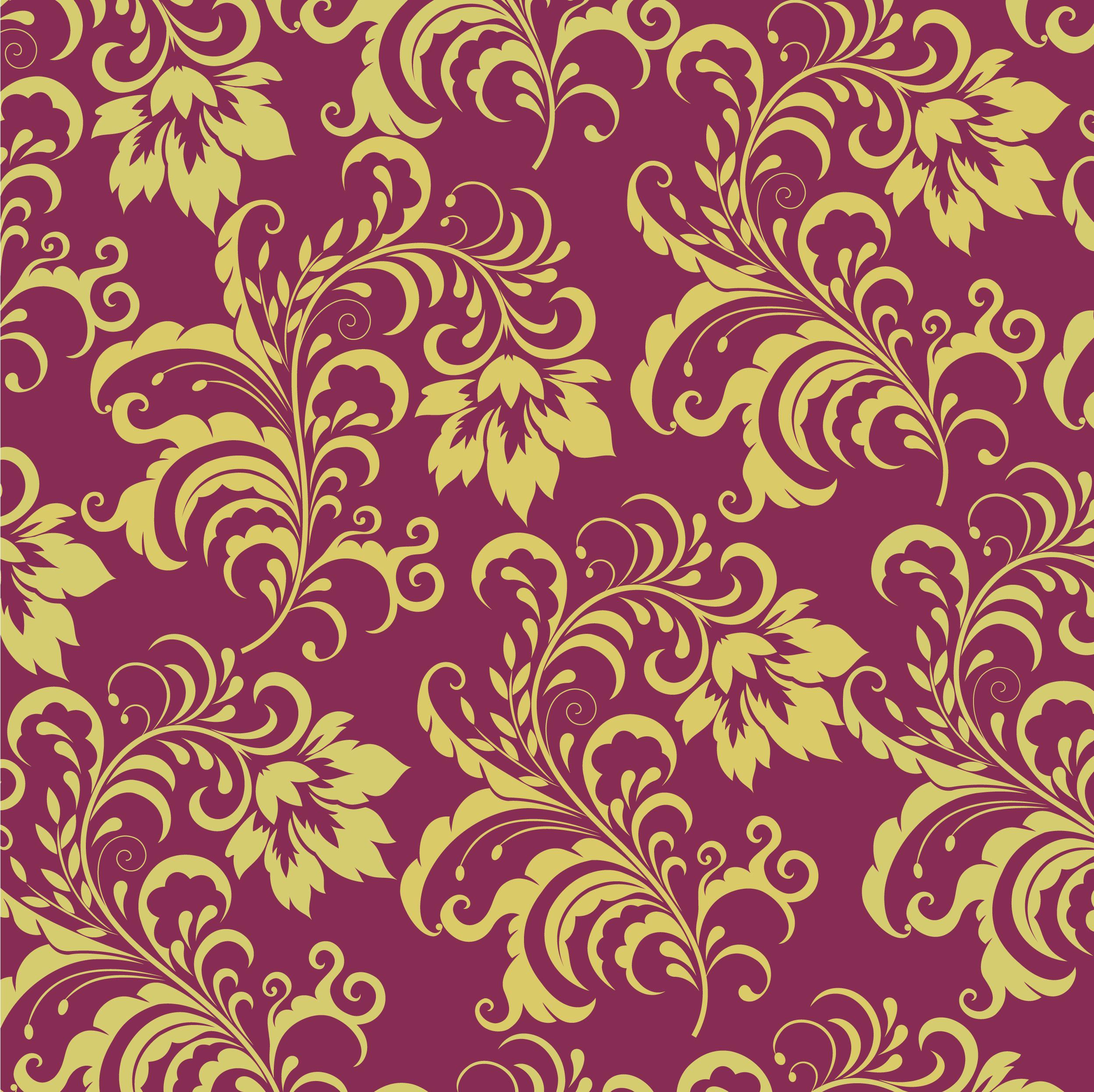 壁紙・背景イラスト/花の模様・柄・パターン No.021『茶・紫・茎葉』