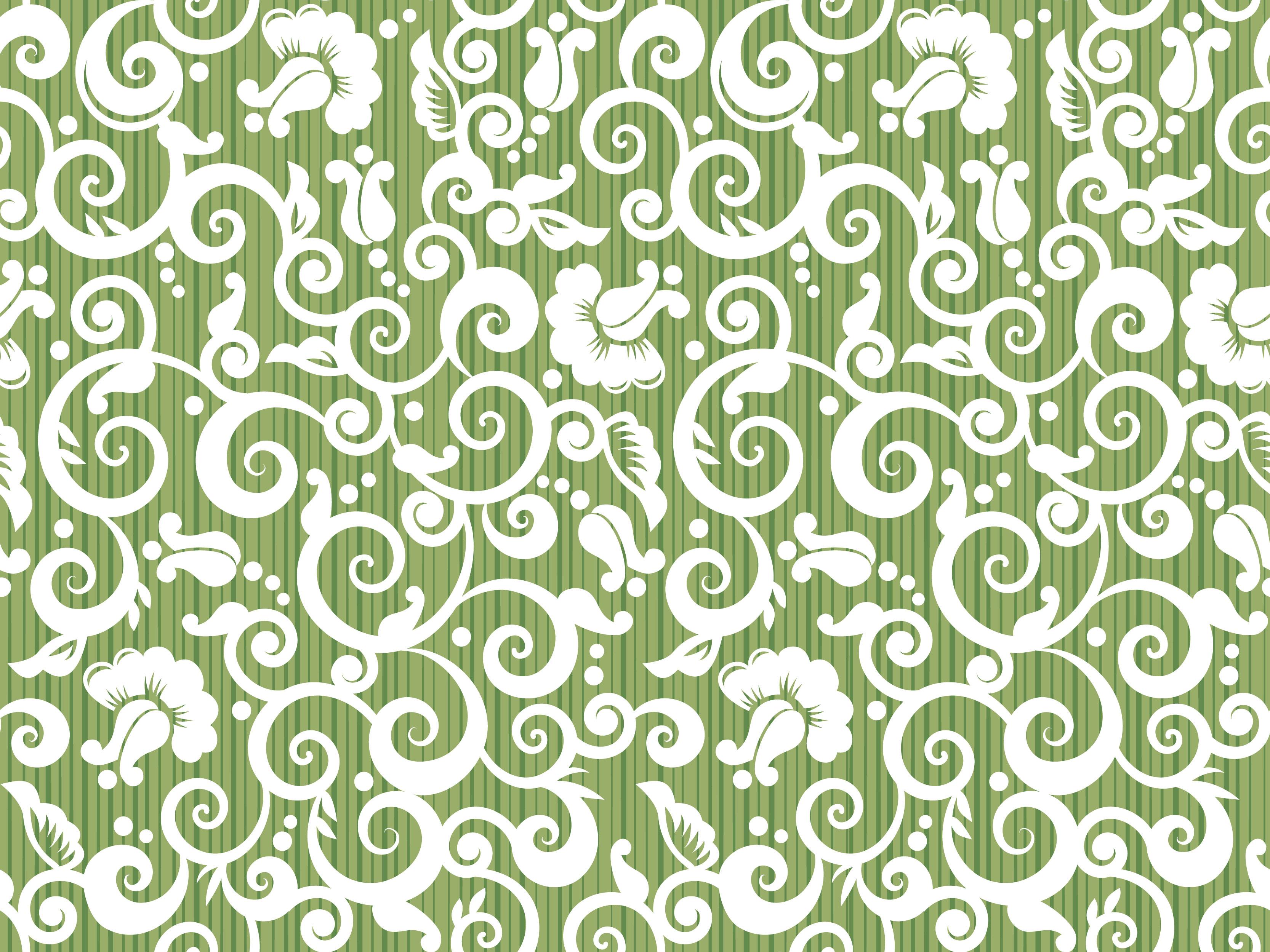 壁紙・背景イラスト/花の模様・柄・パターン No.025『唐草模様・つる・縦縞』