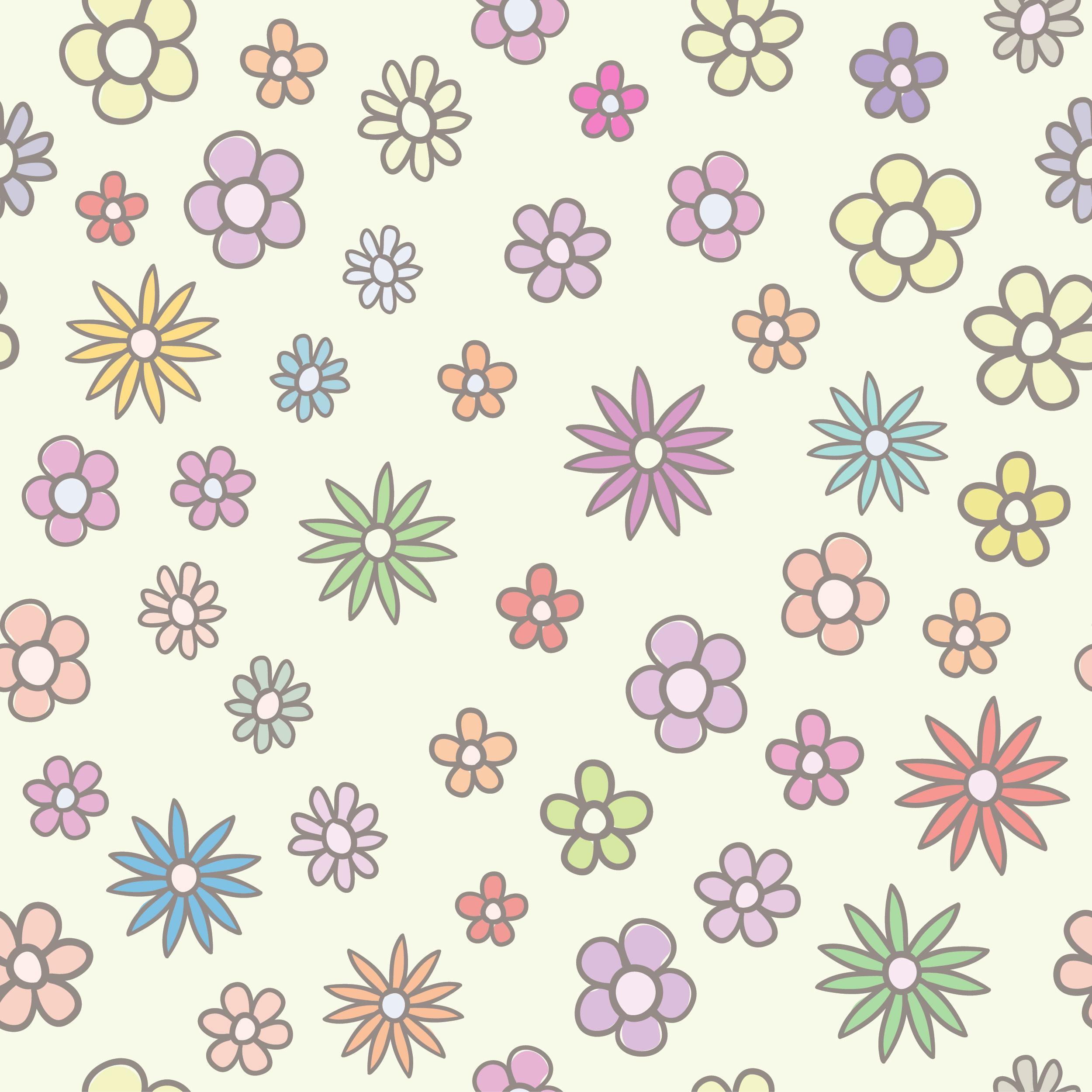 壁紙背景イラスト花の模様柄パターン No072かわいい花薄め