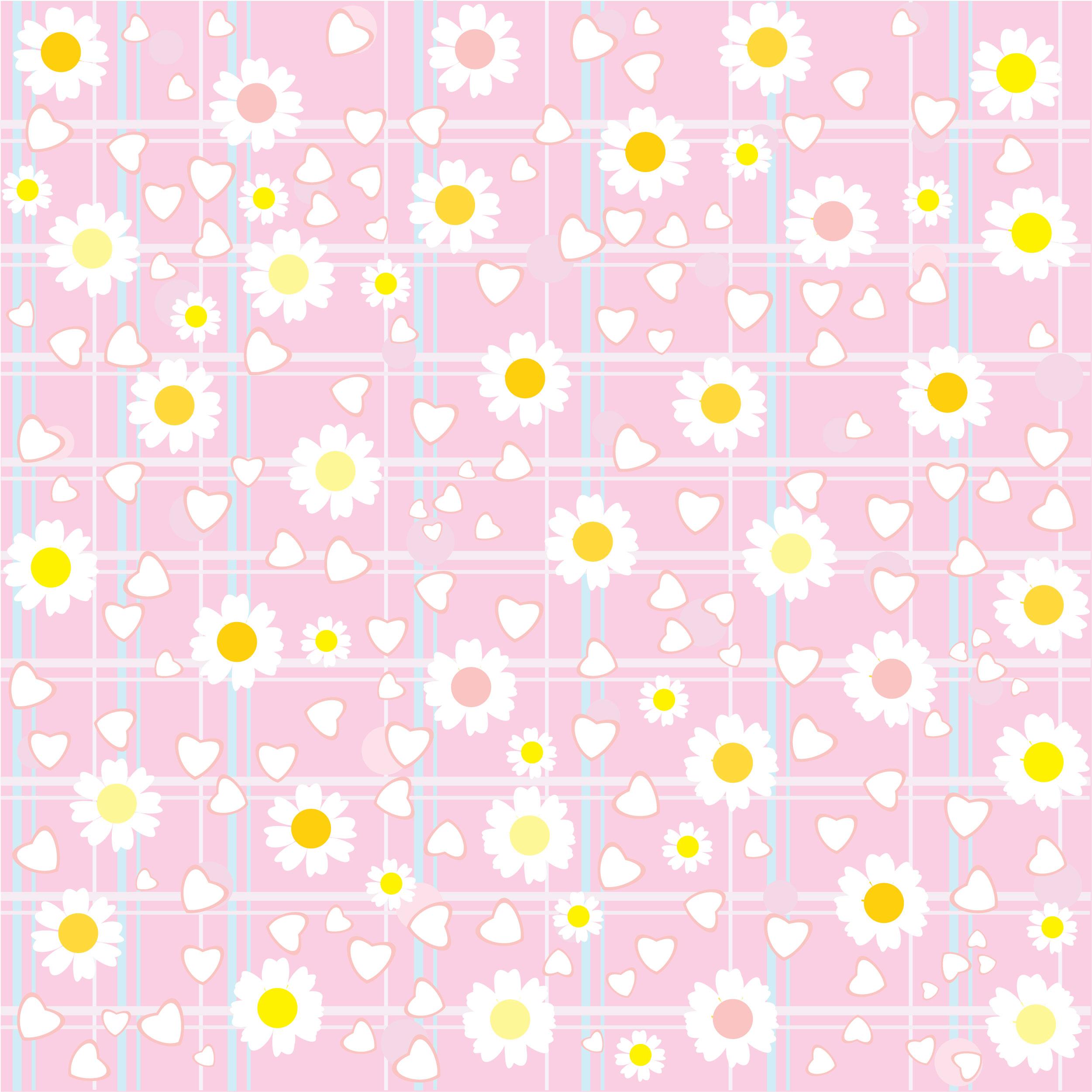 壁紙・背景イラスト/花の模様・柄・パターン no.091『ピンク・格子状