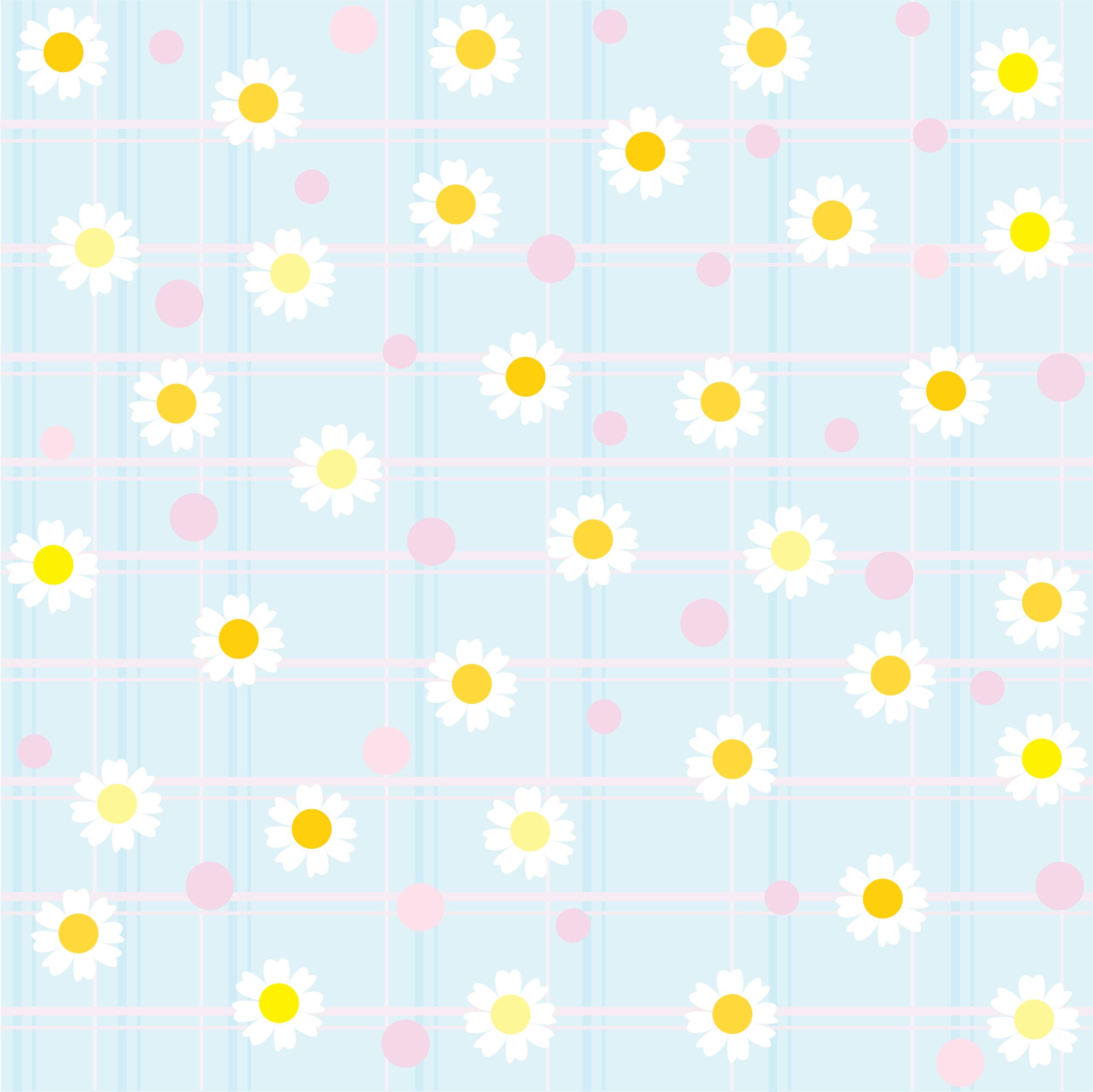 白いの花のイラスト・フリー素材/背景・壁紙no.330『白黄・青』