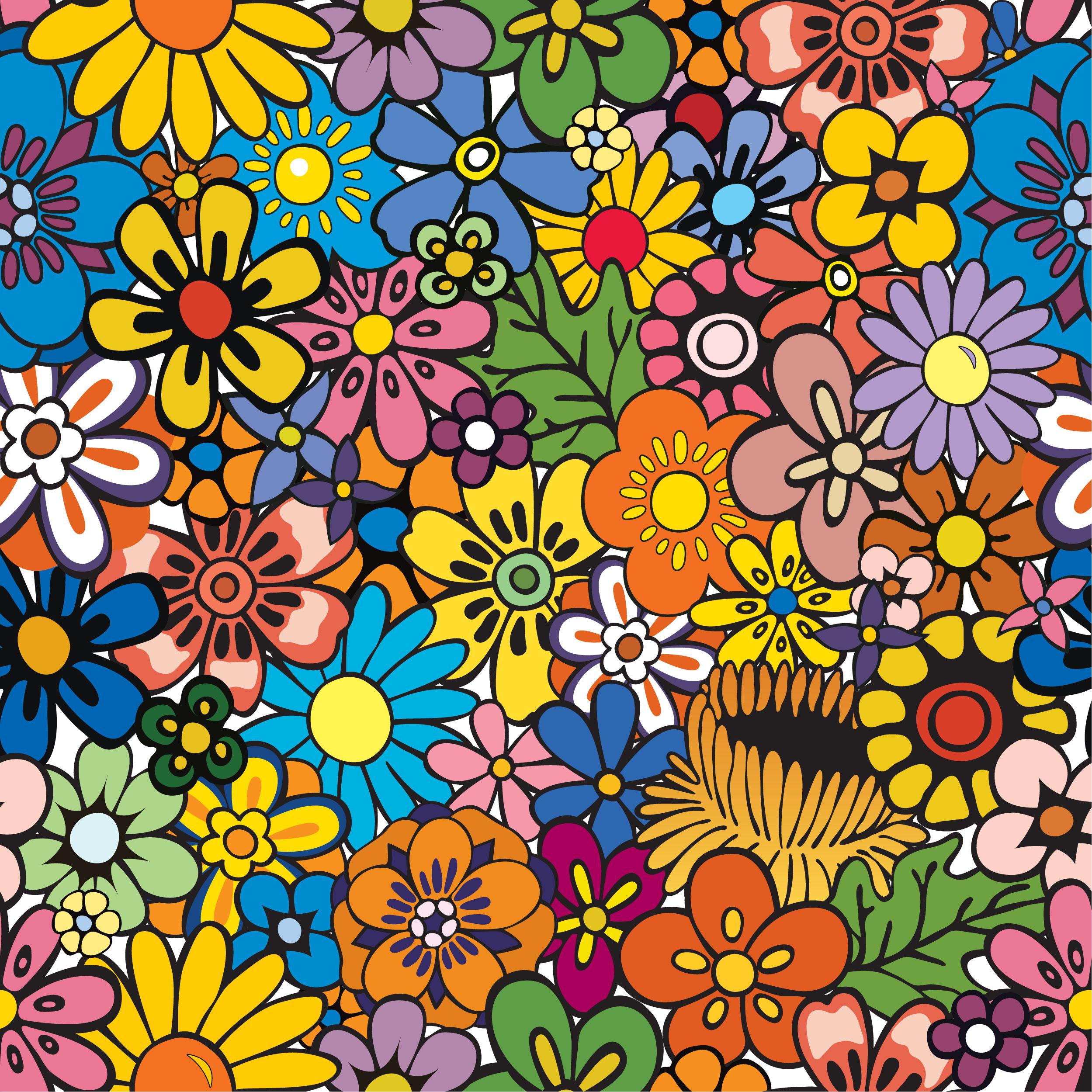 壁紙 背景イラスト 花の模様 柄 パターン No 121 カラフル