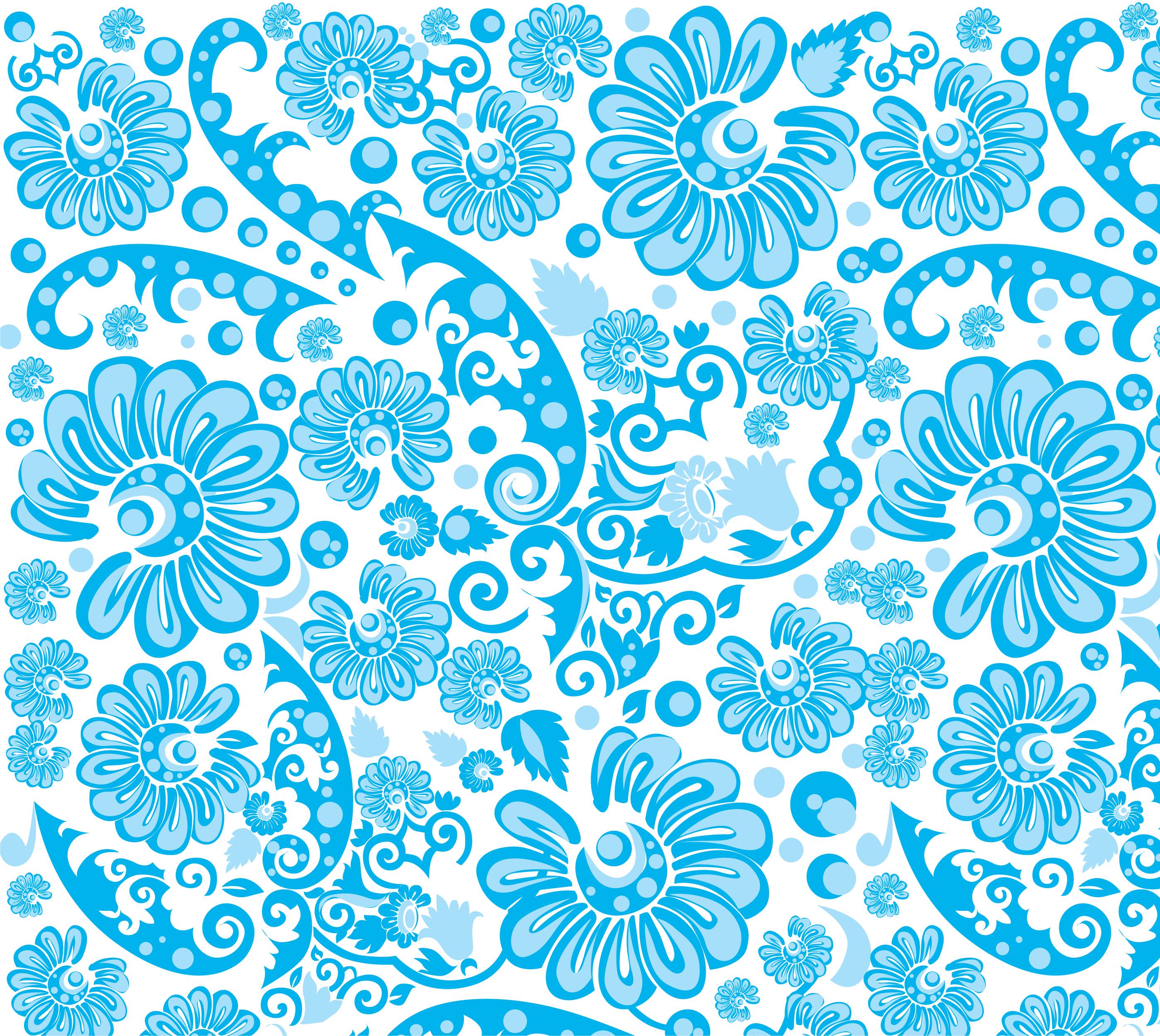 壁紙背景イラスト花の模様柄パターン No127青基調葉ポップ