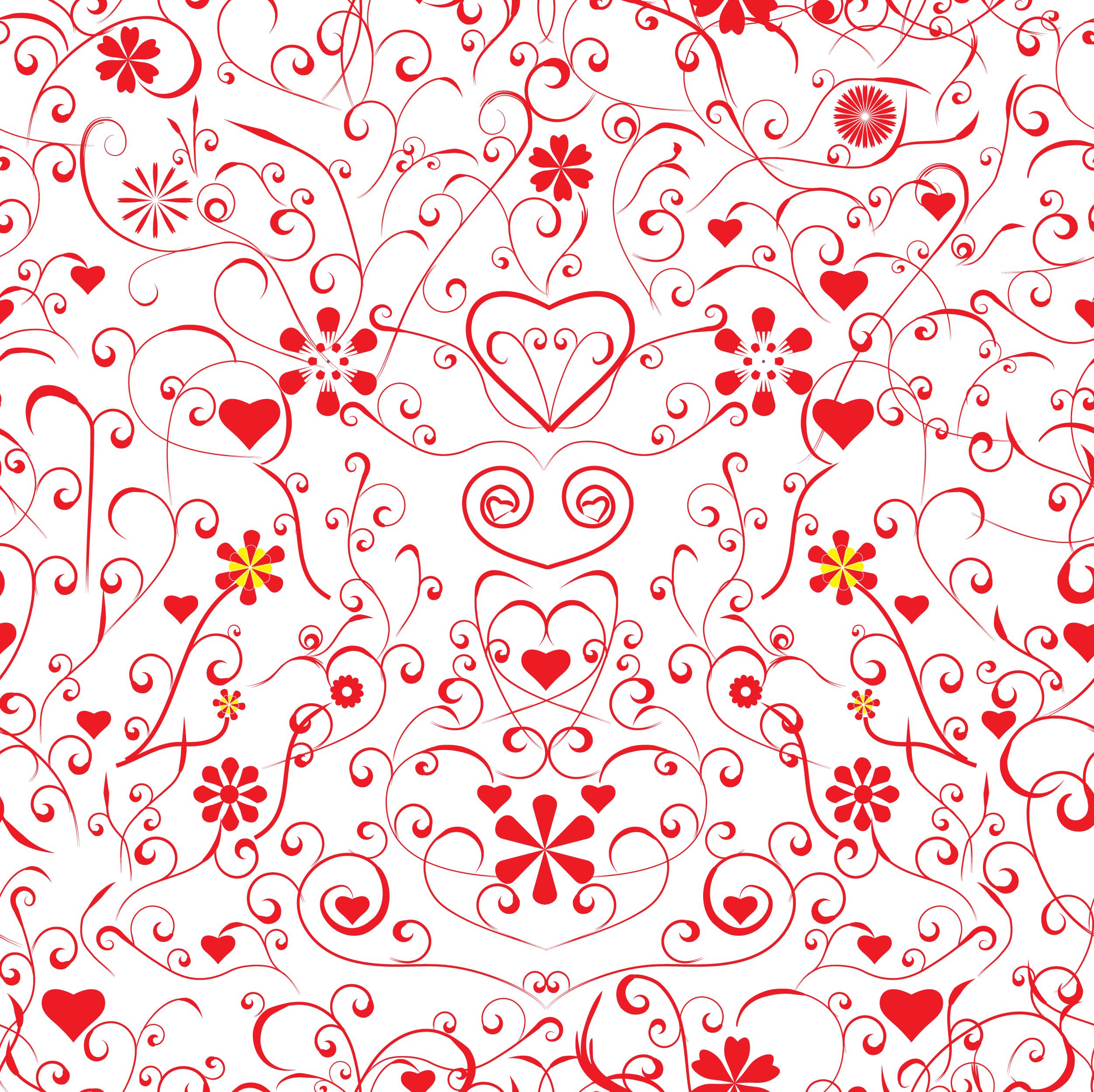 壁紙 背景イラスト 花の模様 柄 パターン No 128 赤白 ハート