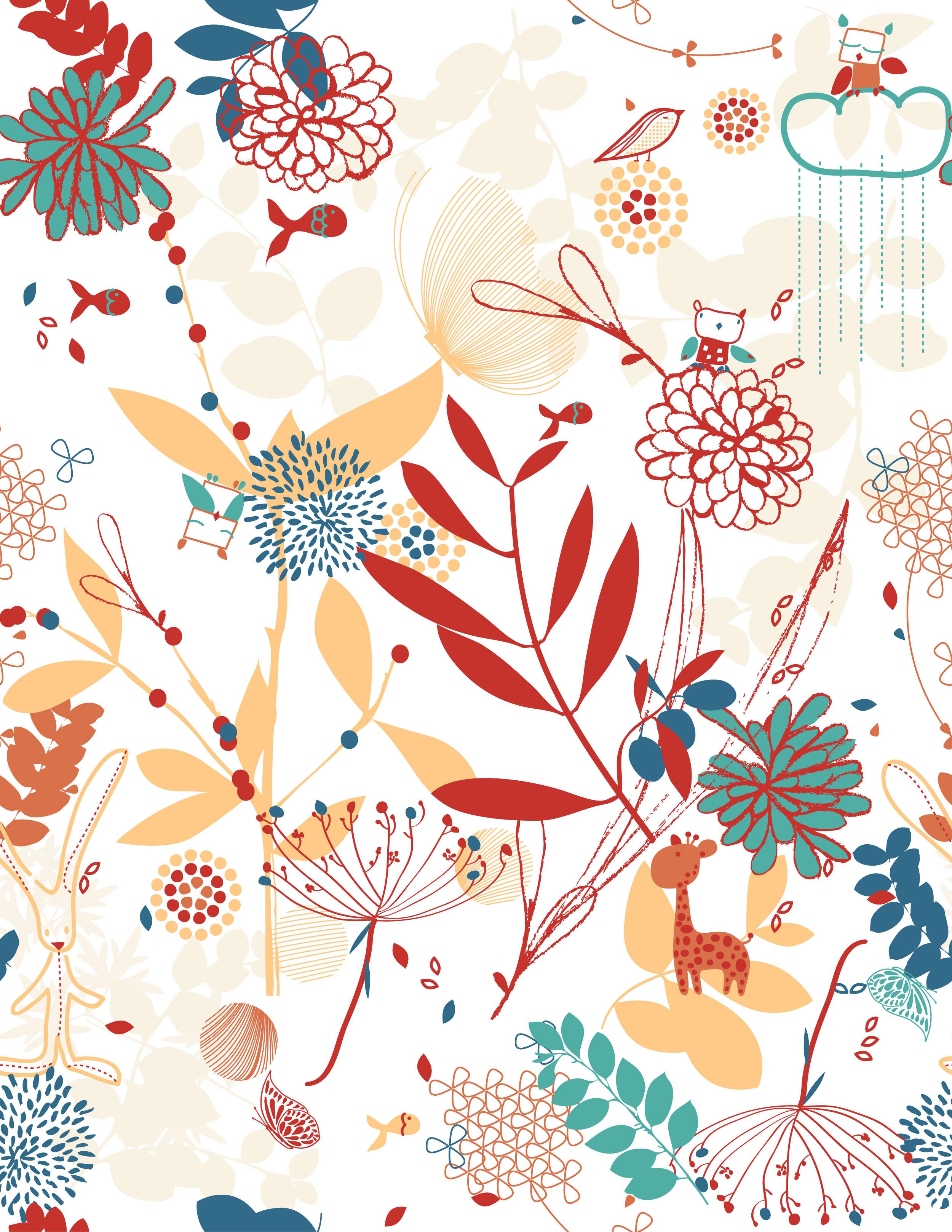壁紙・背景イラスト/花の模様・柄・パターン no.169『かわいい動物