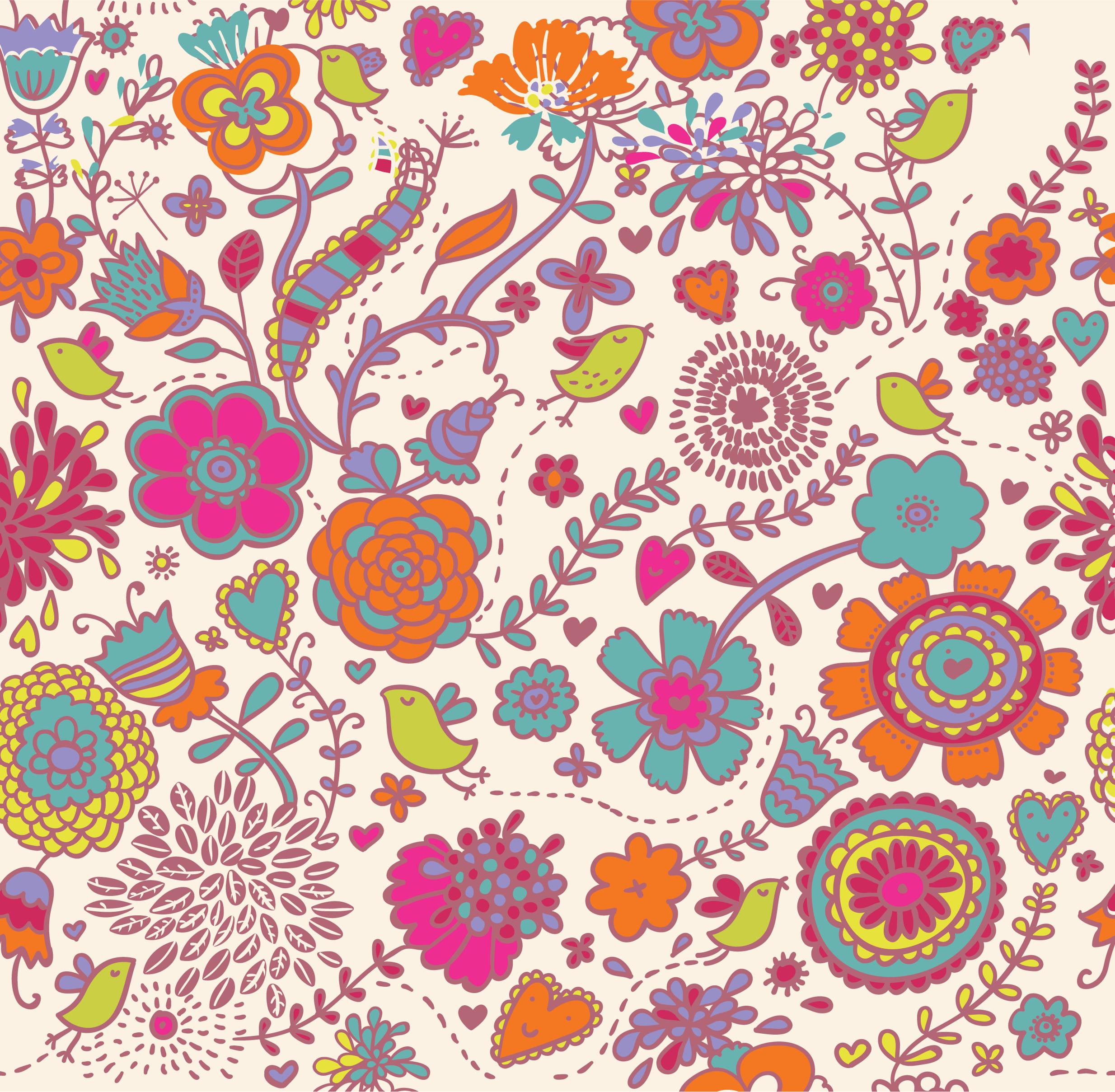 壁紙・背景イラスト/花の模様・柄・パターン no.171『ポップデザイン