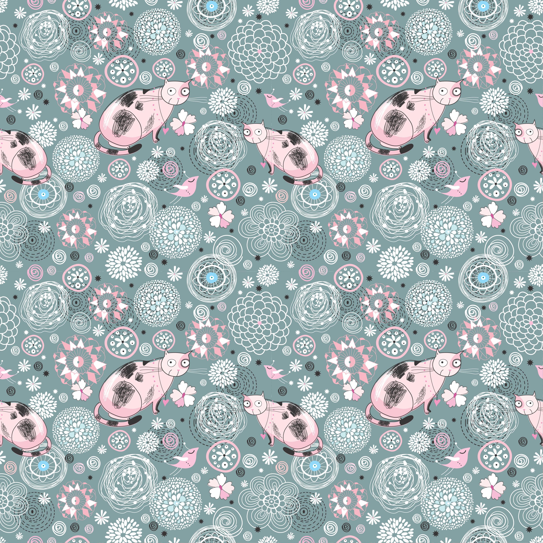 壁紙 背景イラスト 花の模様 柄 パターン No 1 ピンクの猫 鳥