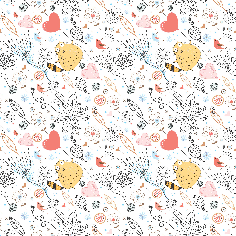 壁紙・背景イラスト/花の模様・柄・パターン no.183『タヌキ・ハート