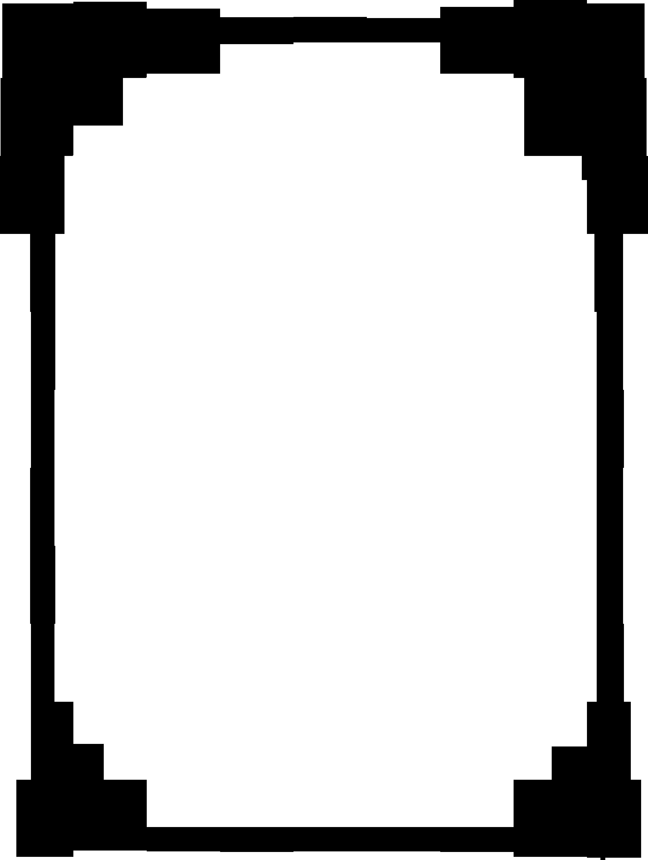 壁紙・背景イラスト/花のフレーム・外枠 no.001『白黒・切り絵風・縦枠』