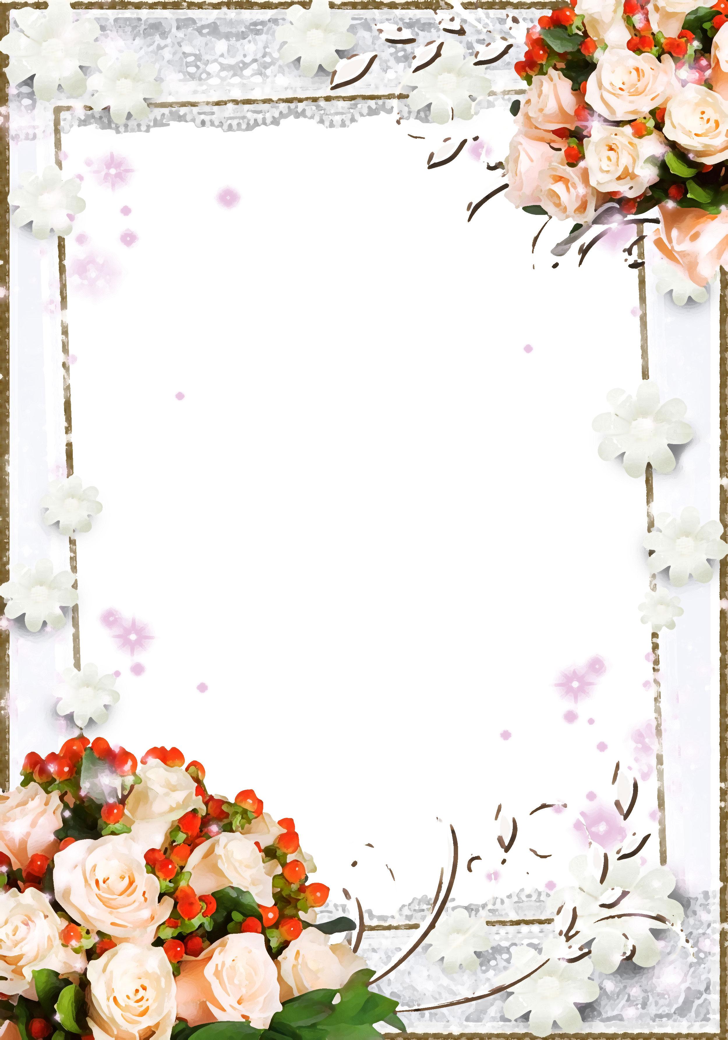 壁紙 背景イラスト 花のフレーム 外枠 No 106 白バラ 赤 光彩