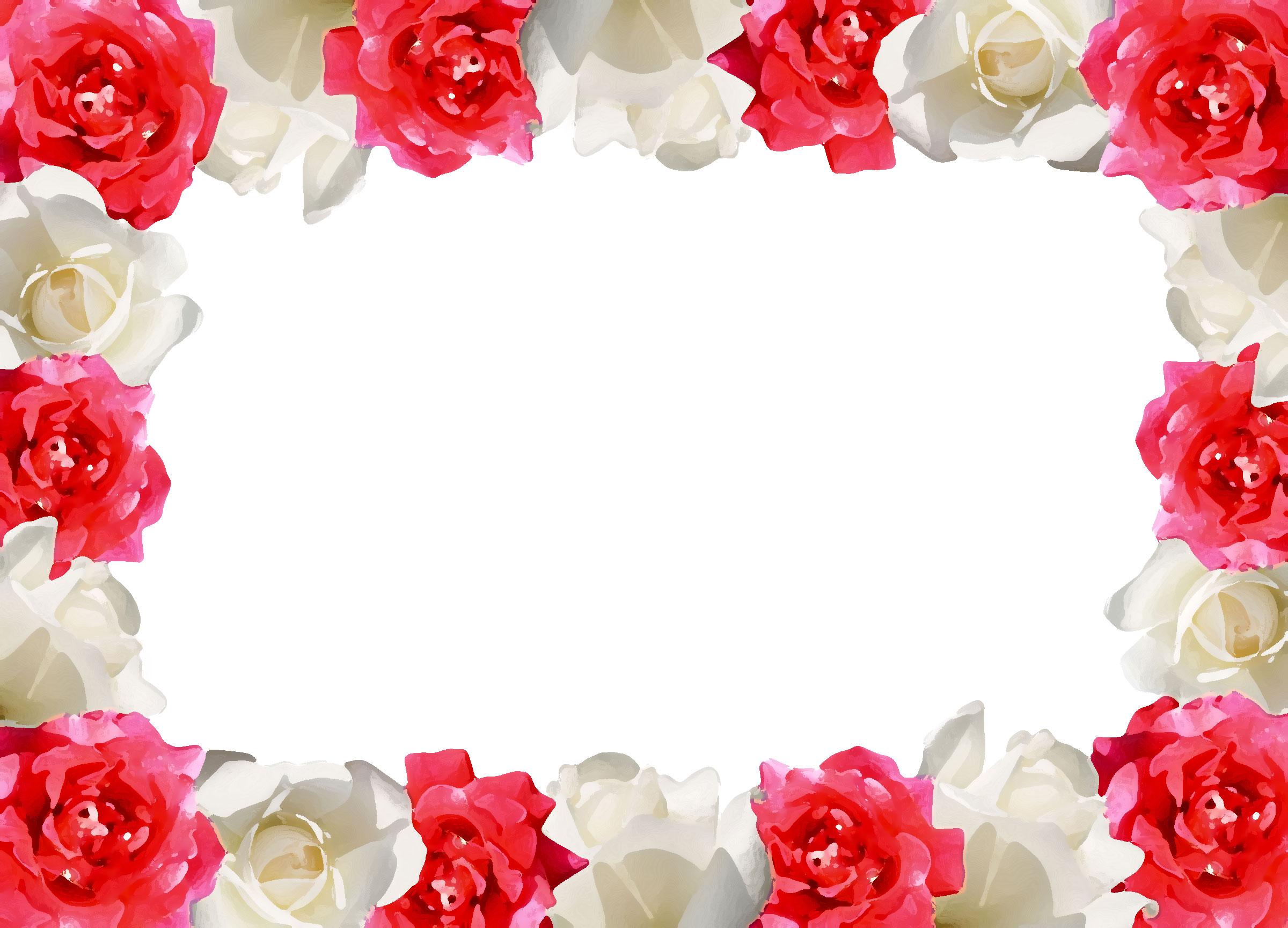 壁紙・背景イラスト/花のフレーム・外枠 No 159『花囲い・赤白バラ』