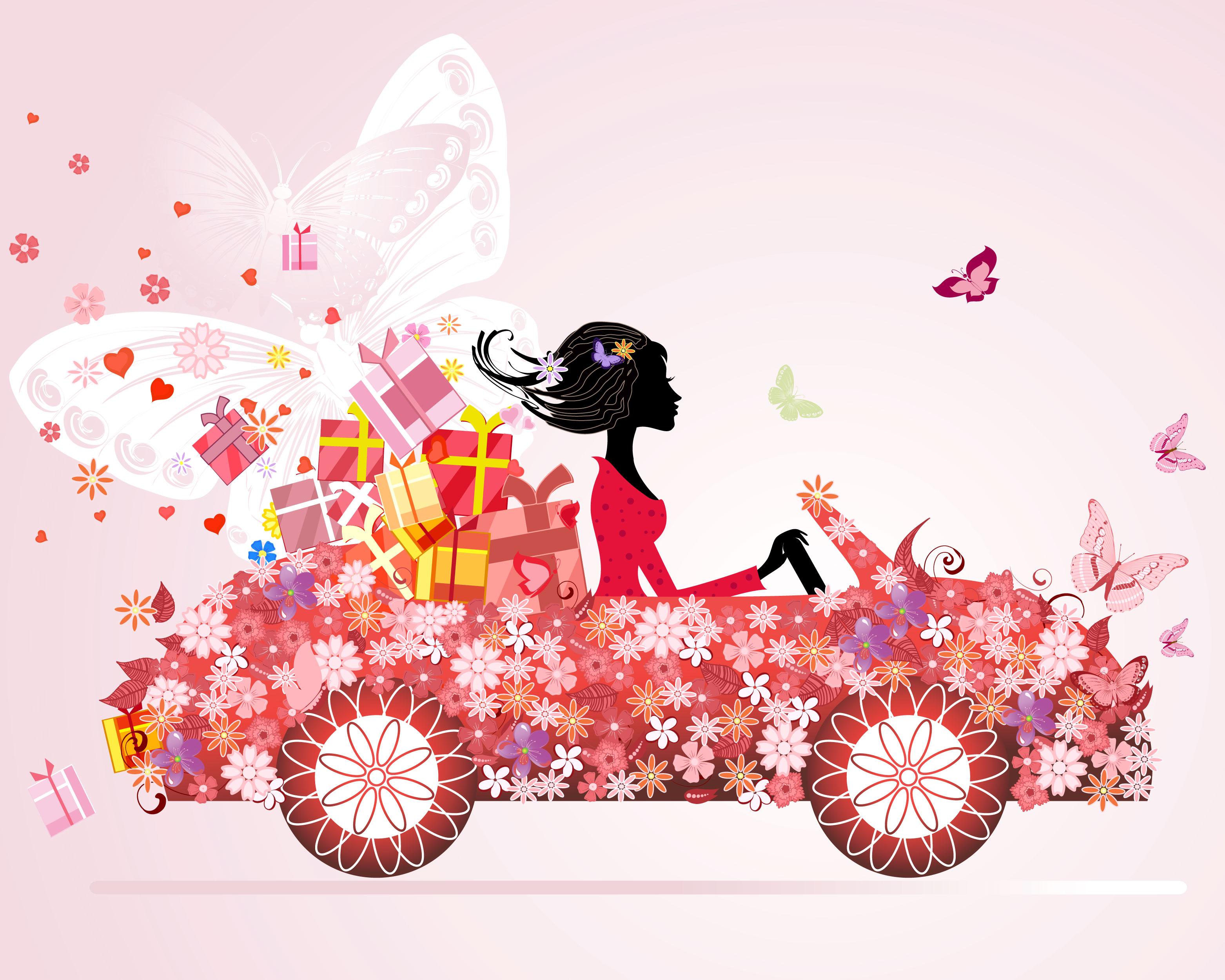 赤い花のイラスト フリー素材 背景 壁紙no 955 車に乗る女性 蝶