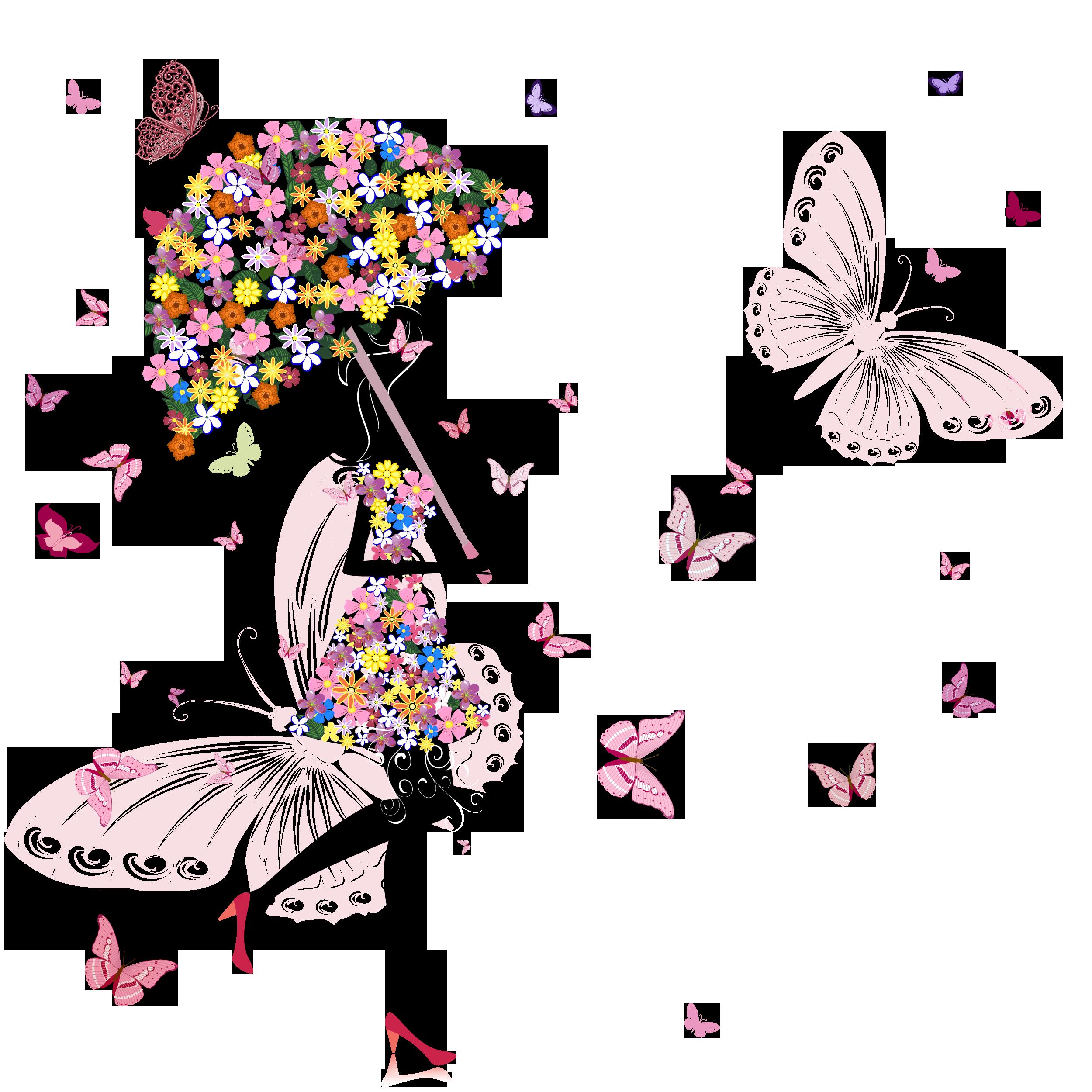 花のイラストフリー素材壁紙背景no212傘をさす女性蝶