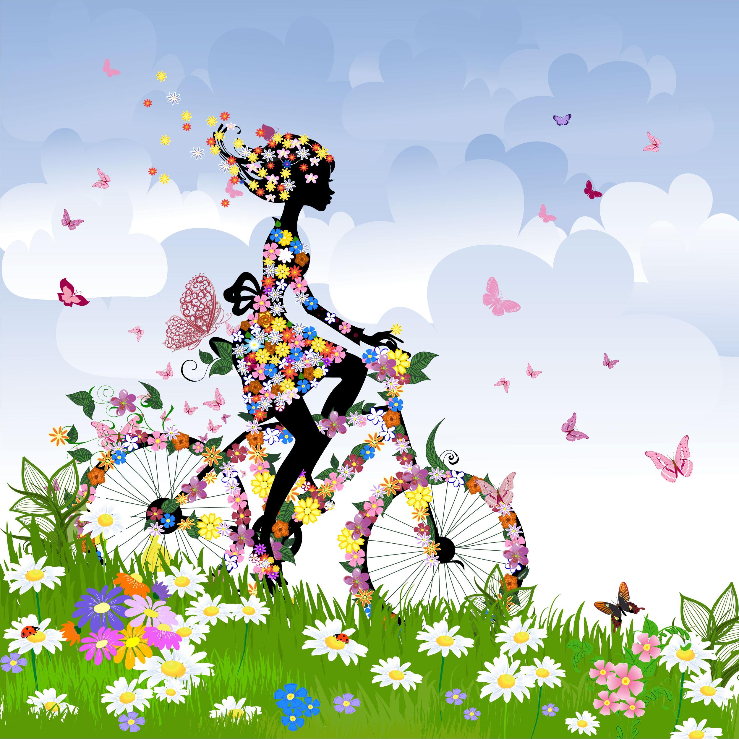 自転車の 自転車 素材 イラスト フリー : Spring Flowers Butterfly Cartoon