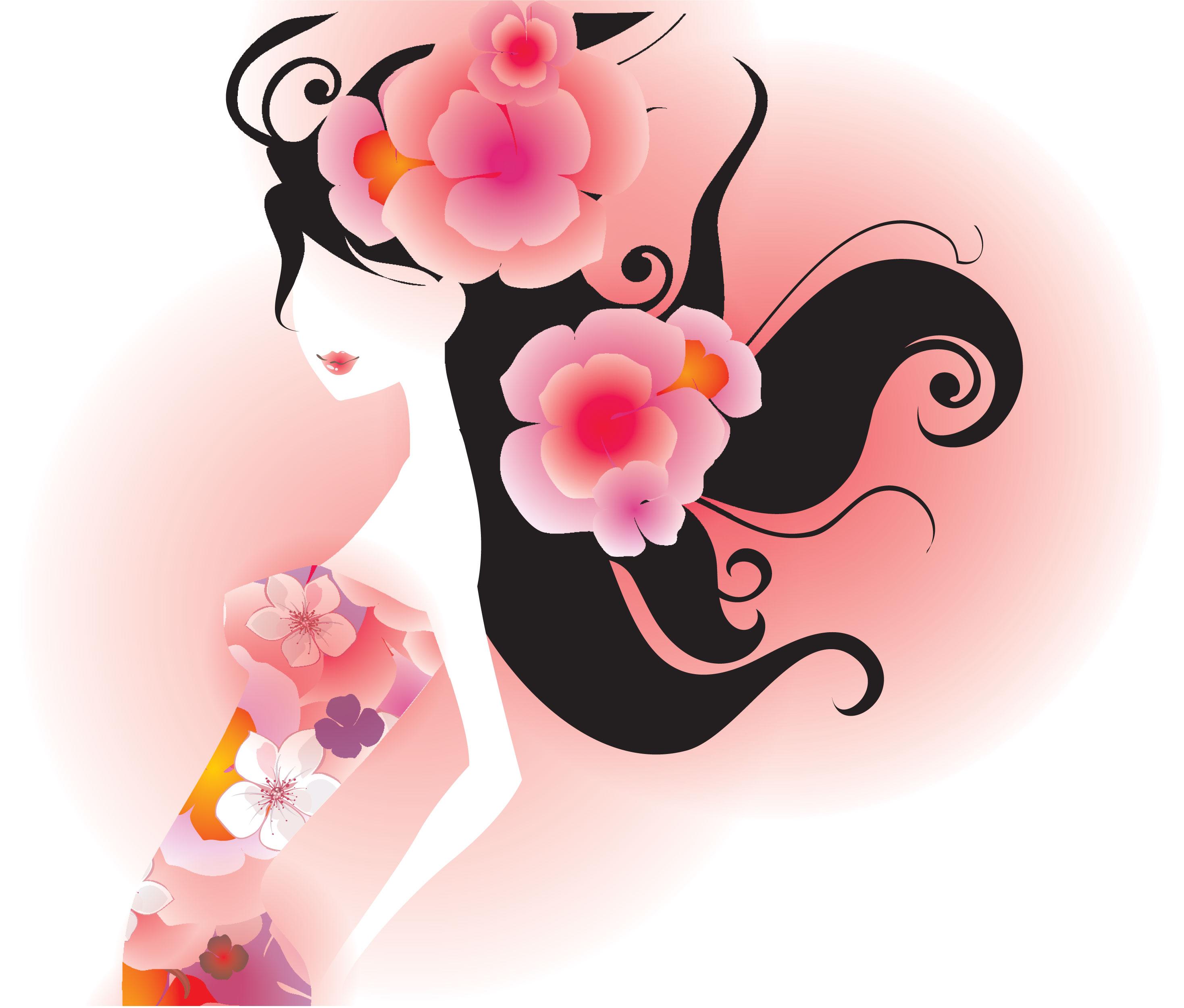 ピンクの花のイラストフリー素材壁紙背景no618女性黒髪ピンク