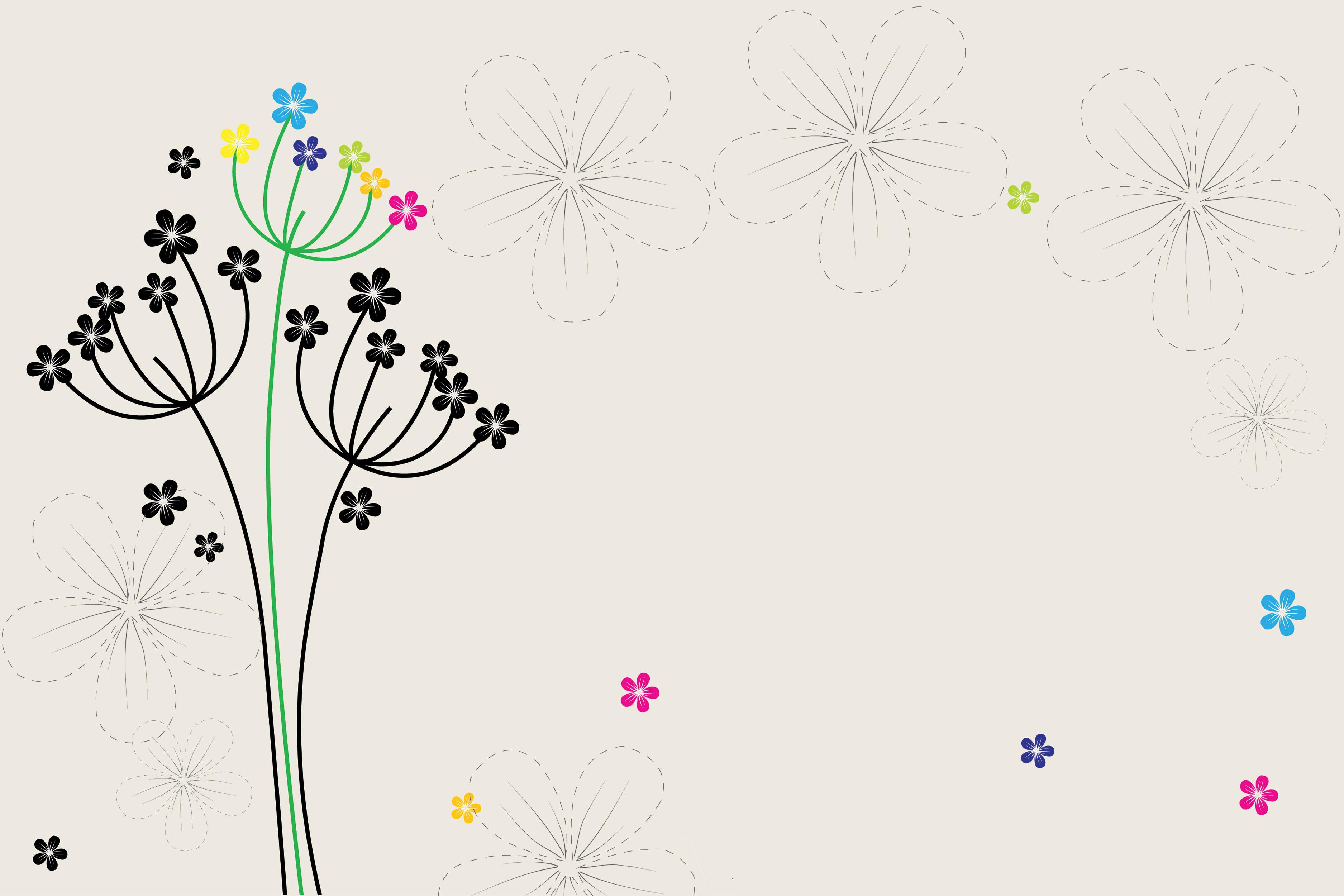 花のイラスト・フリー素材/壁紙・背景no.121『かわいい草花・グレー』