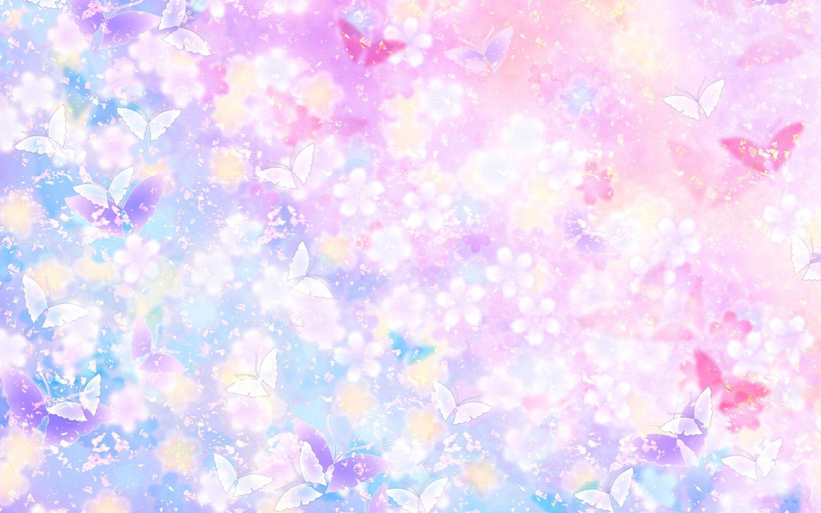 花のイラスト・フリー素材/壁紙・背景no.007『青紫ピンク・蝶・淡い』