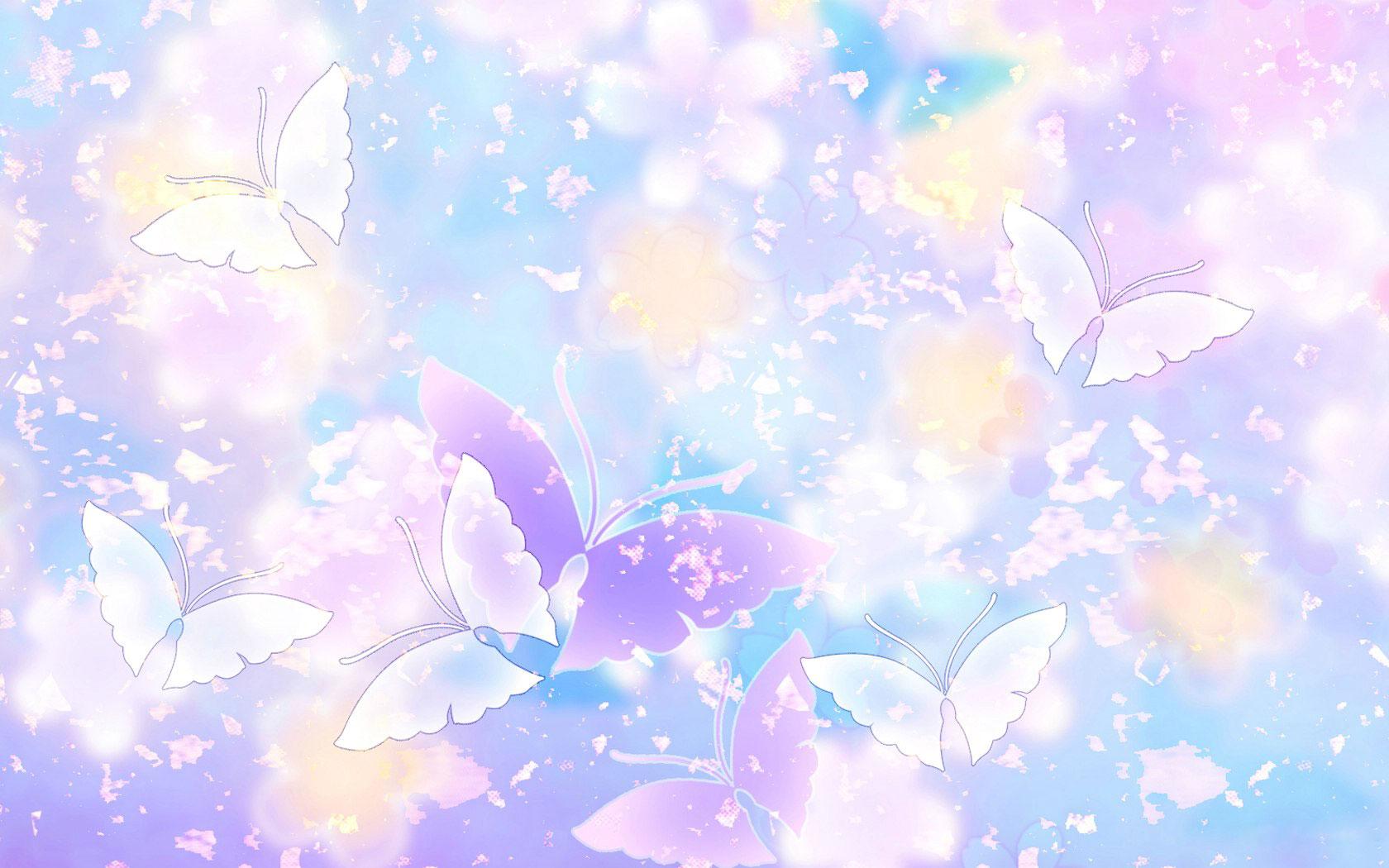 花のイラスト・フリー素材/壁紙・背景no.009『青紫ピンク・蝶・淡い』