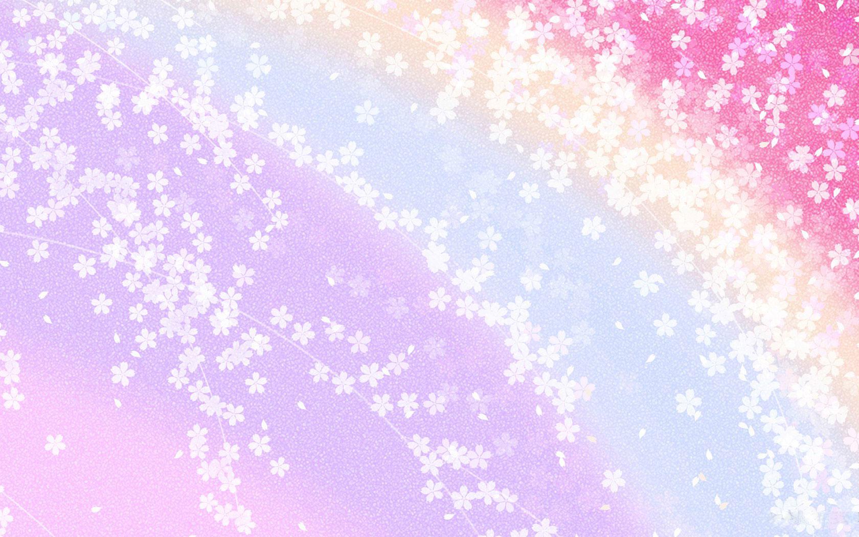 花のイラストフリー素材壁紙背景no010赤青紫虹カーブ