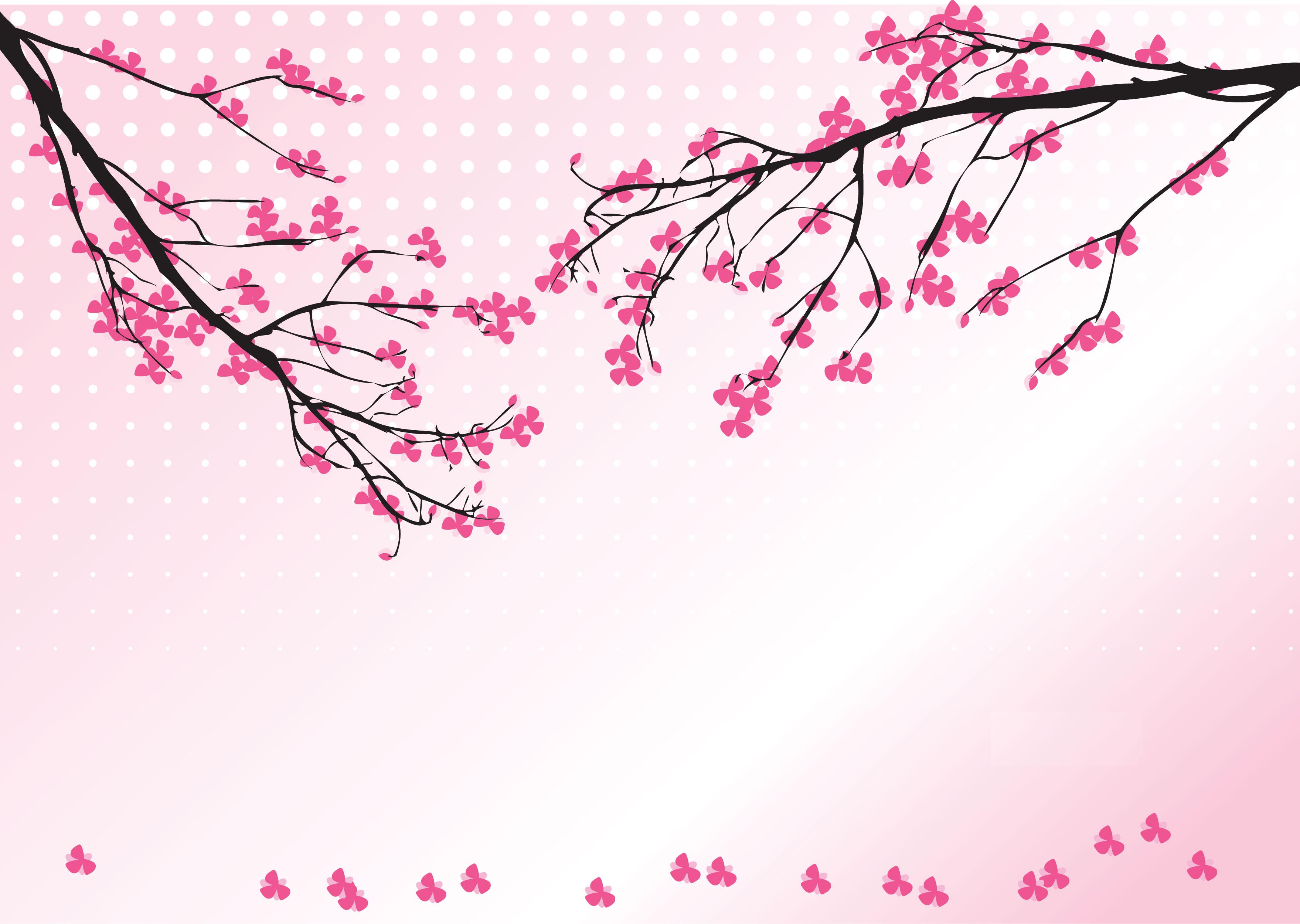花のイラスト・フリー素材/壁紙・背景No.506『ピンク・枝・和風・梅』