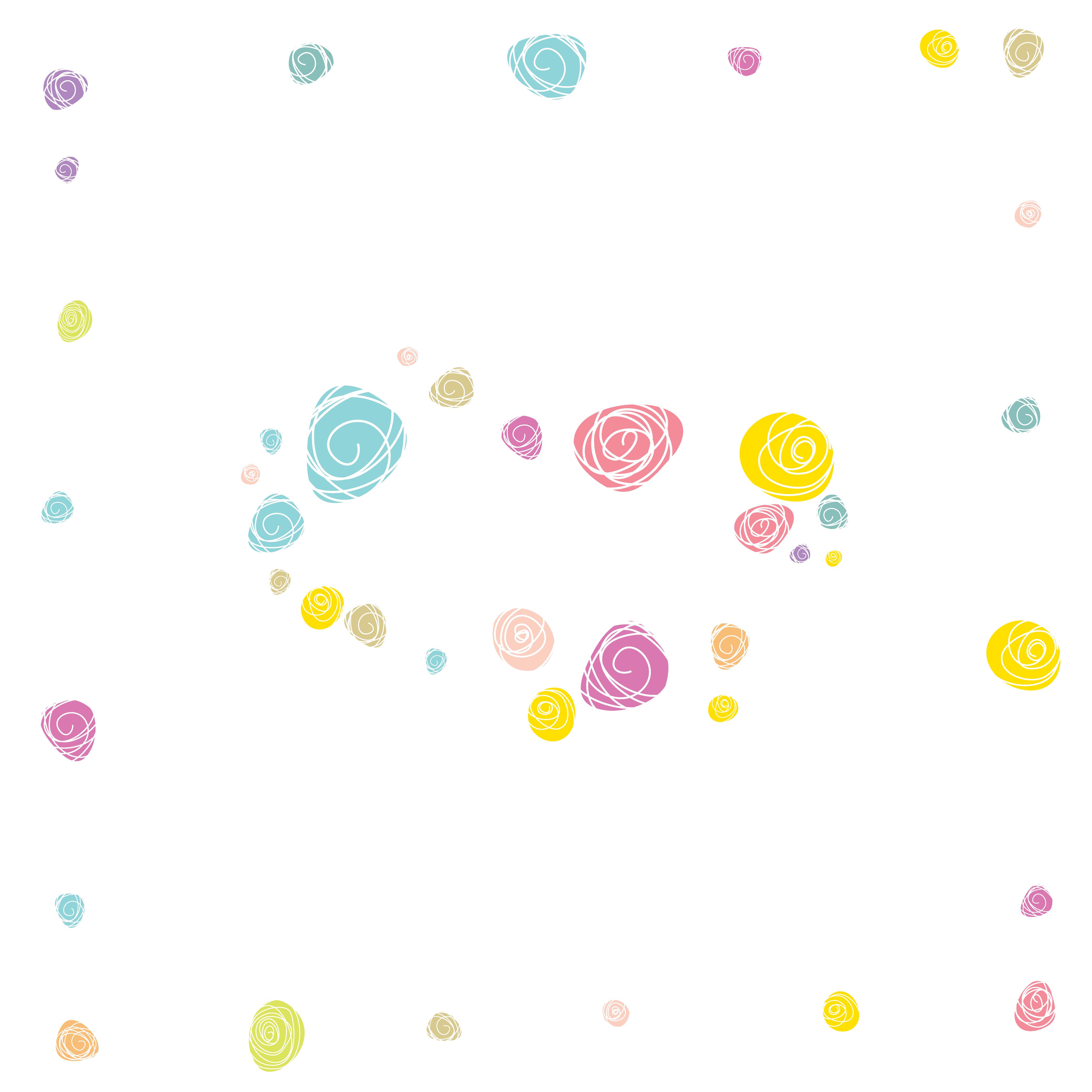 壁紙・背景イラスト/花のフレーム・外枠 no.191『カラフル・シンプル