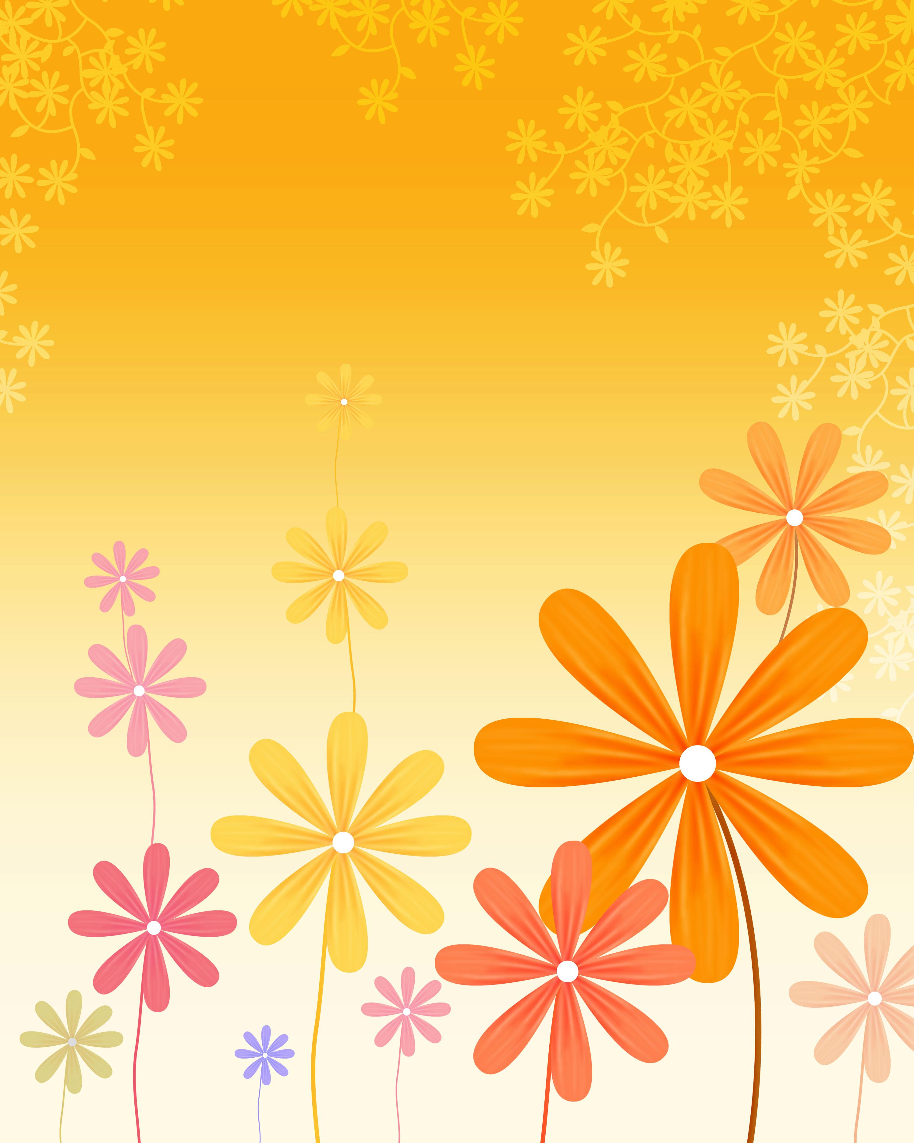 花のイラスト・フリー素材/壁紙・背景no.517『秋のイメージ・オレンジ』