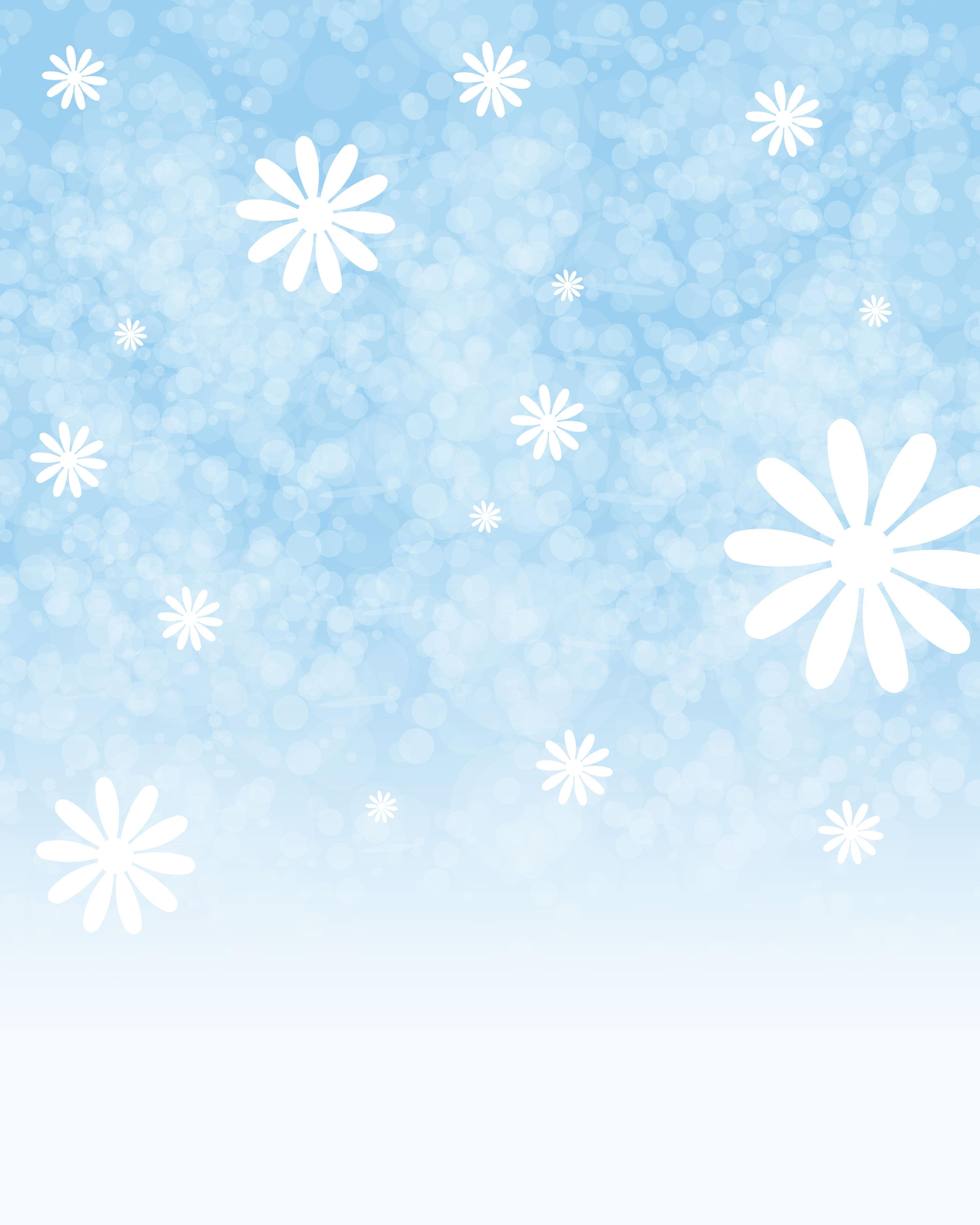 花のイラスト・フリー素材/壁紙・背景no.534『青い空・白い雪花』