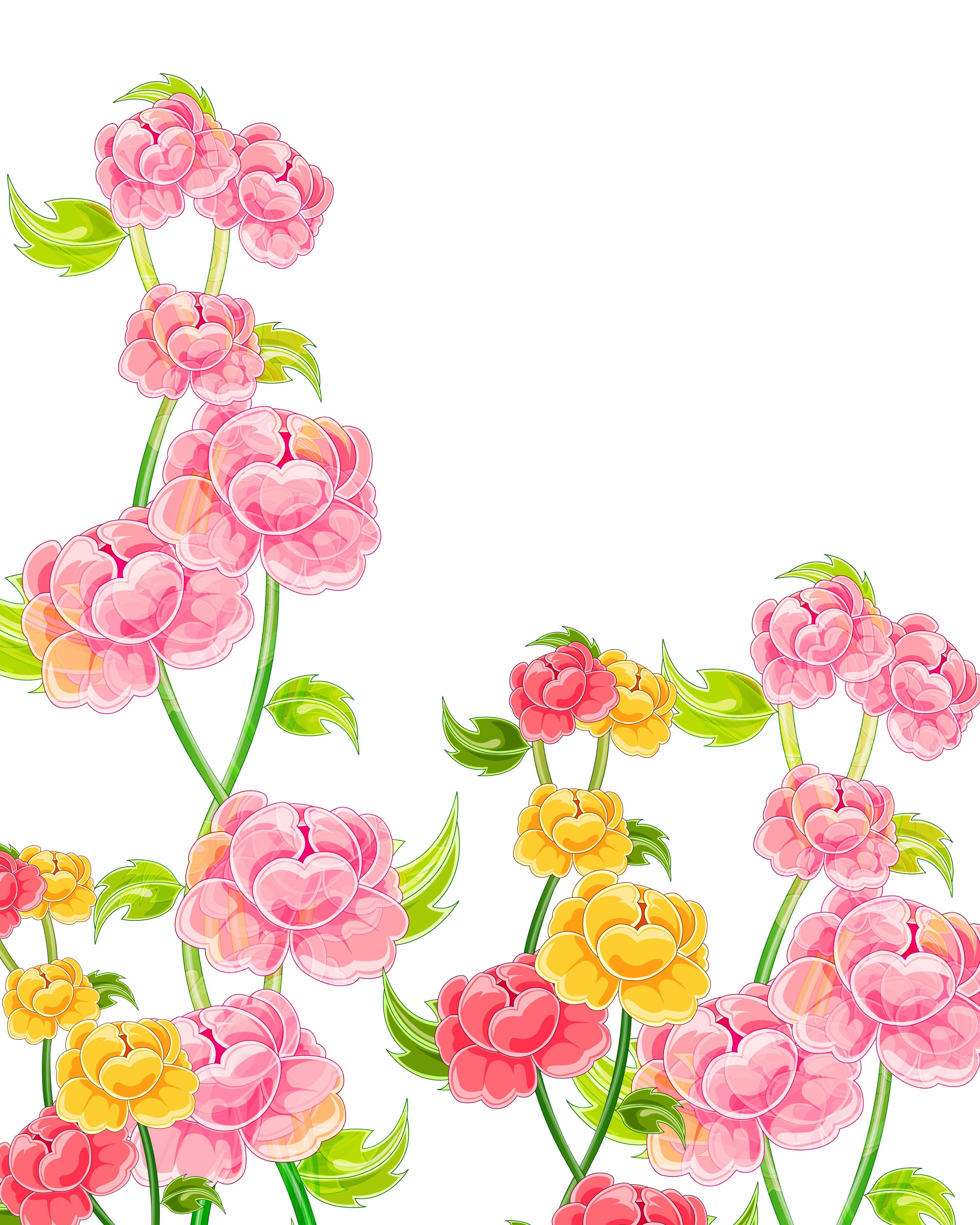 ピンクの花のイラスト・フリー素材/壁紙・背景no.632『ピンク・赤黄