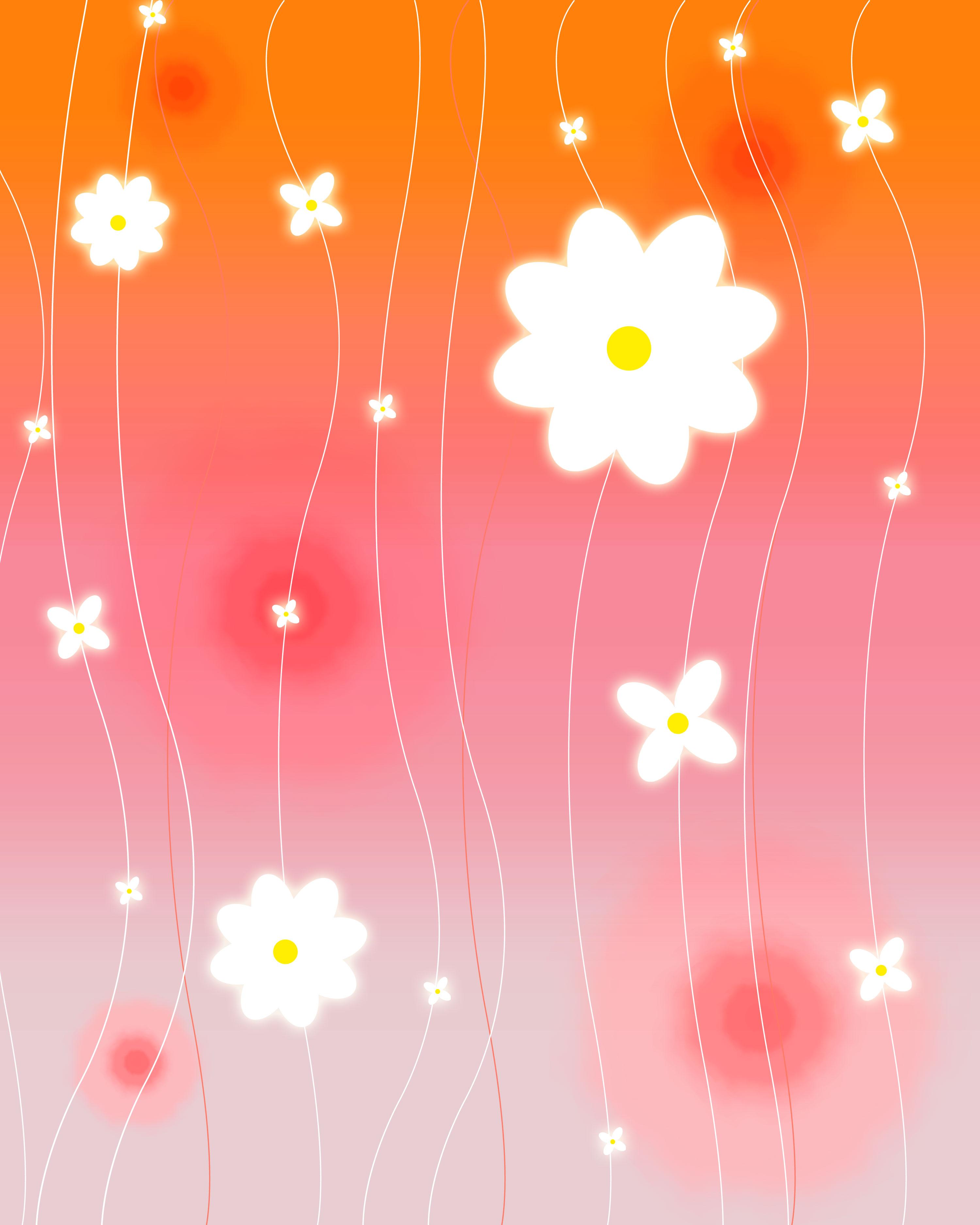 花のイラスト フリー素材 壁紙 背景no 019 赤白 淡い光