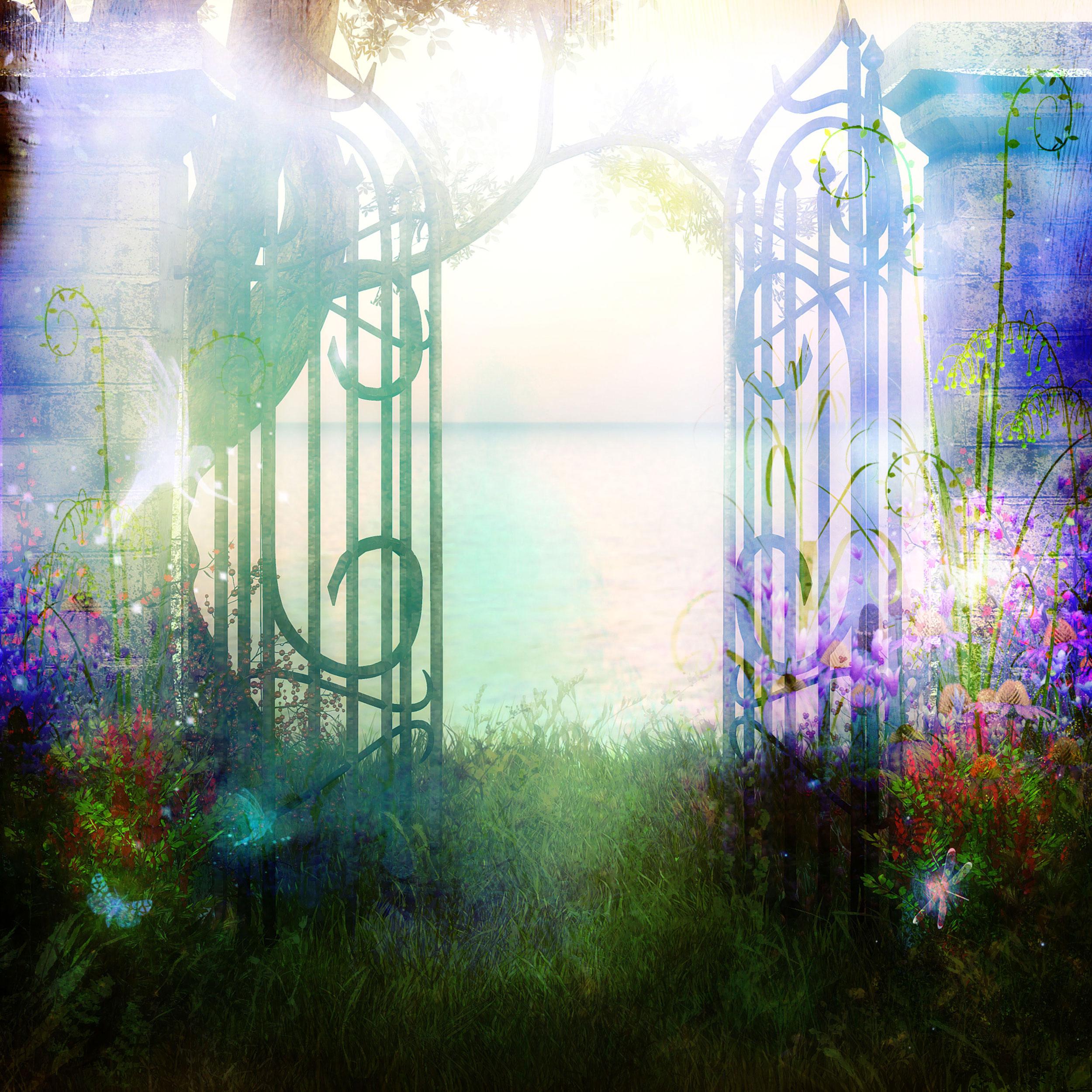 花のイラスト フリー素材 壁紙 背景no 2 幻想的 館の門 妖精