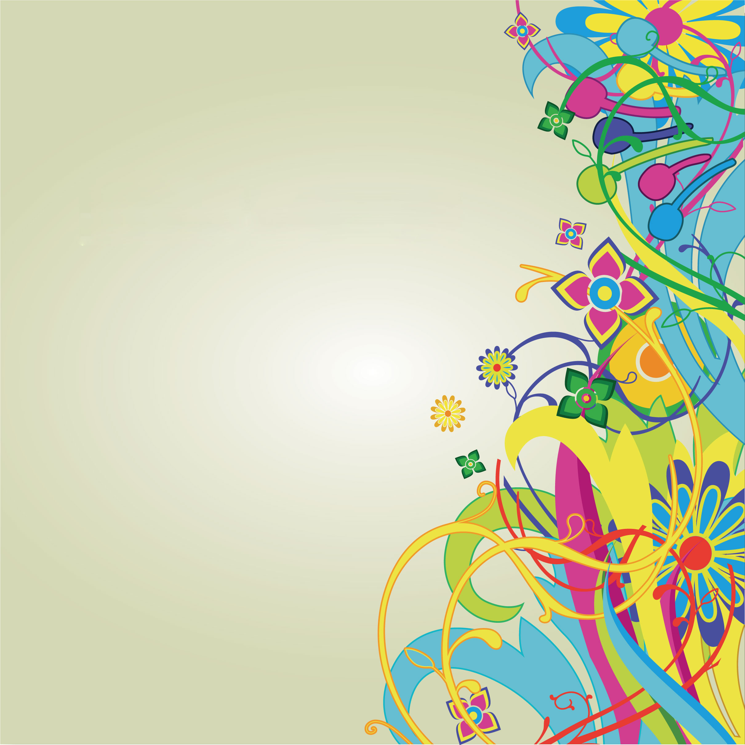 花のイラスト フリー素材 壁紙 背景no 295 カラフル ポップ 光彩