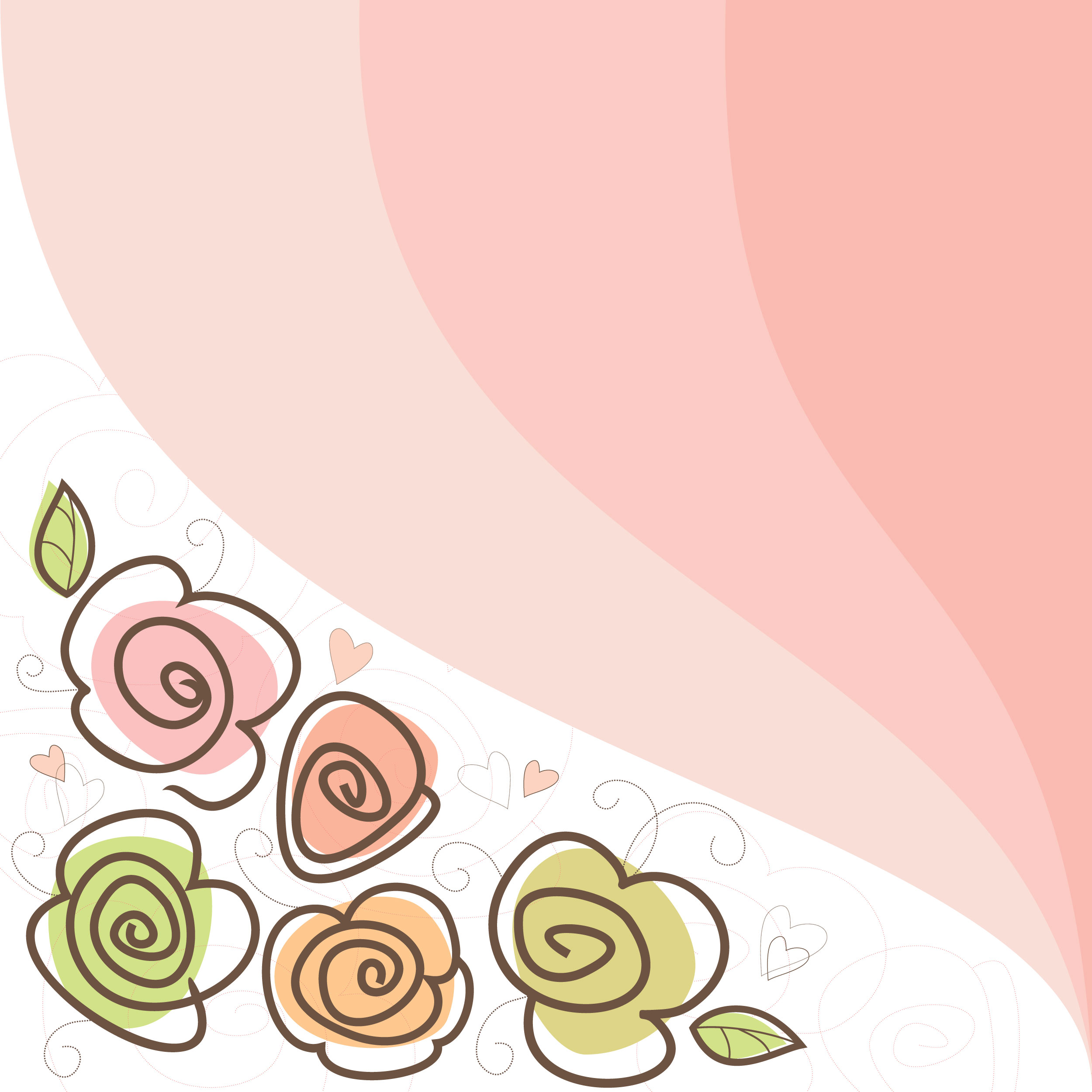 花のイラスト フリー素材 壁紙 背景no 128 手書き風 ポップ 暖色