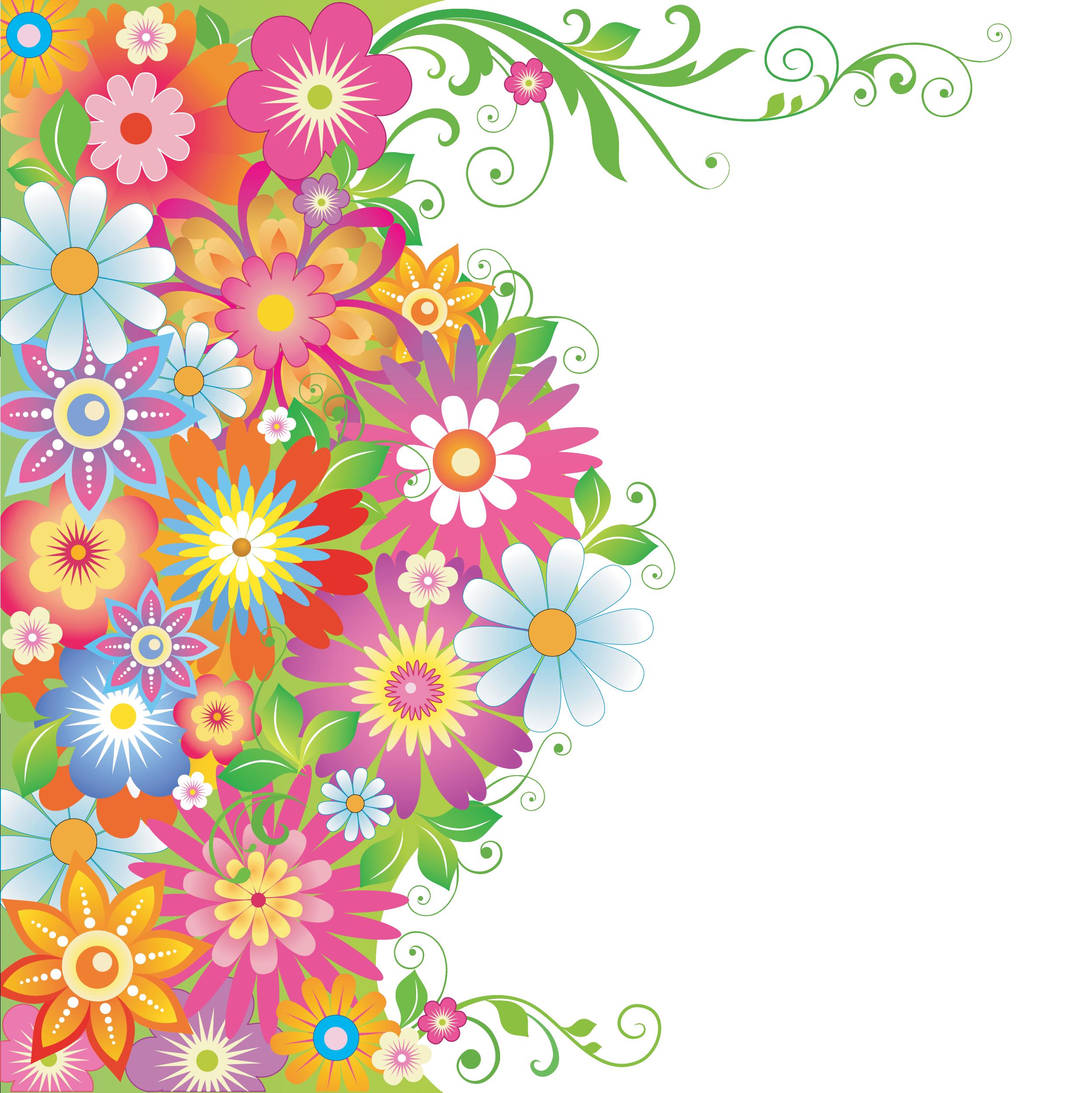 花のイラスト・フリー素材/壁紙・背景no.575『カラフルフラワー・茎葉』
