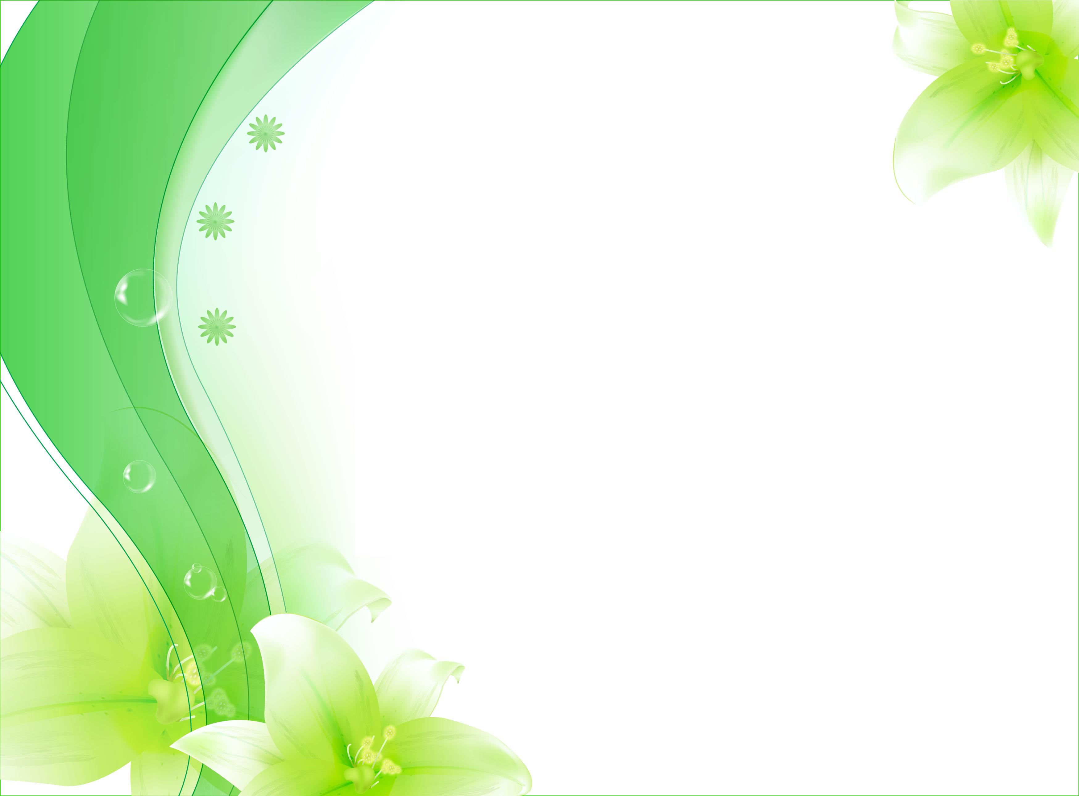 花のイラスト・フリー素材/壁紙・背景no.586『緑・ユリ・淡い』