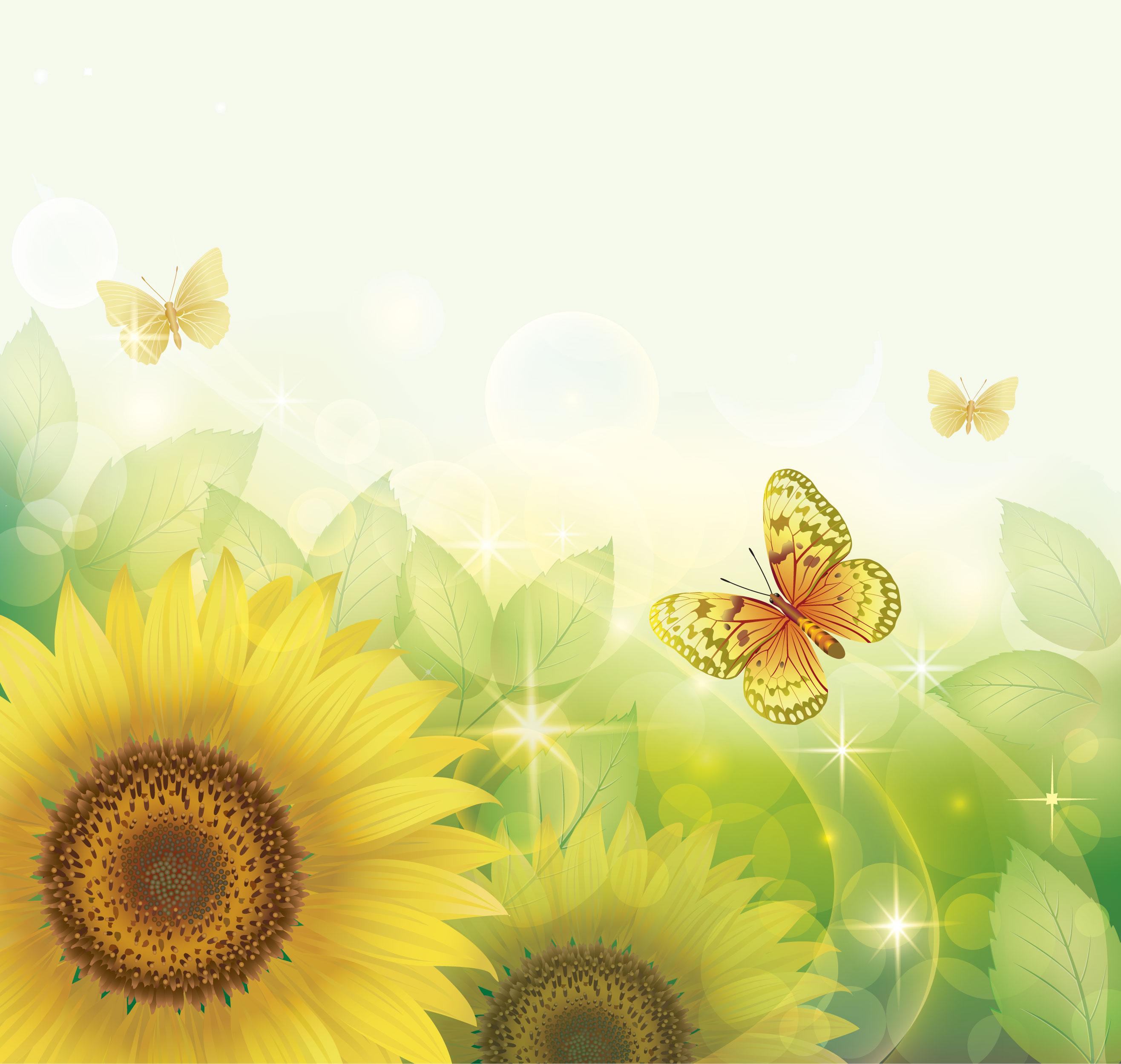 黄色の花のイラスト フリー素材 背景 壁紙no 299 ひまわり 蝶