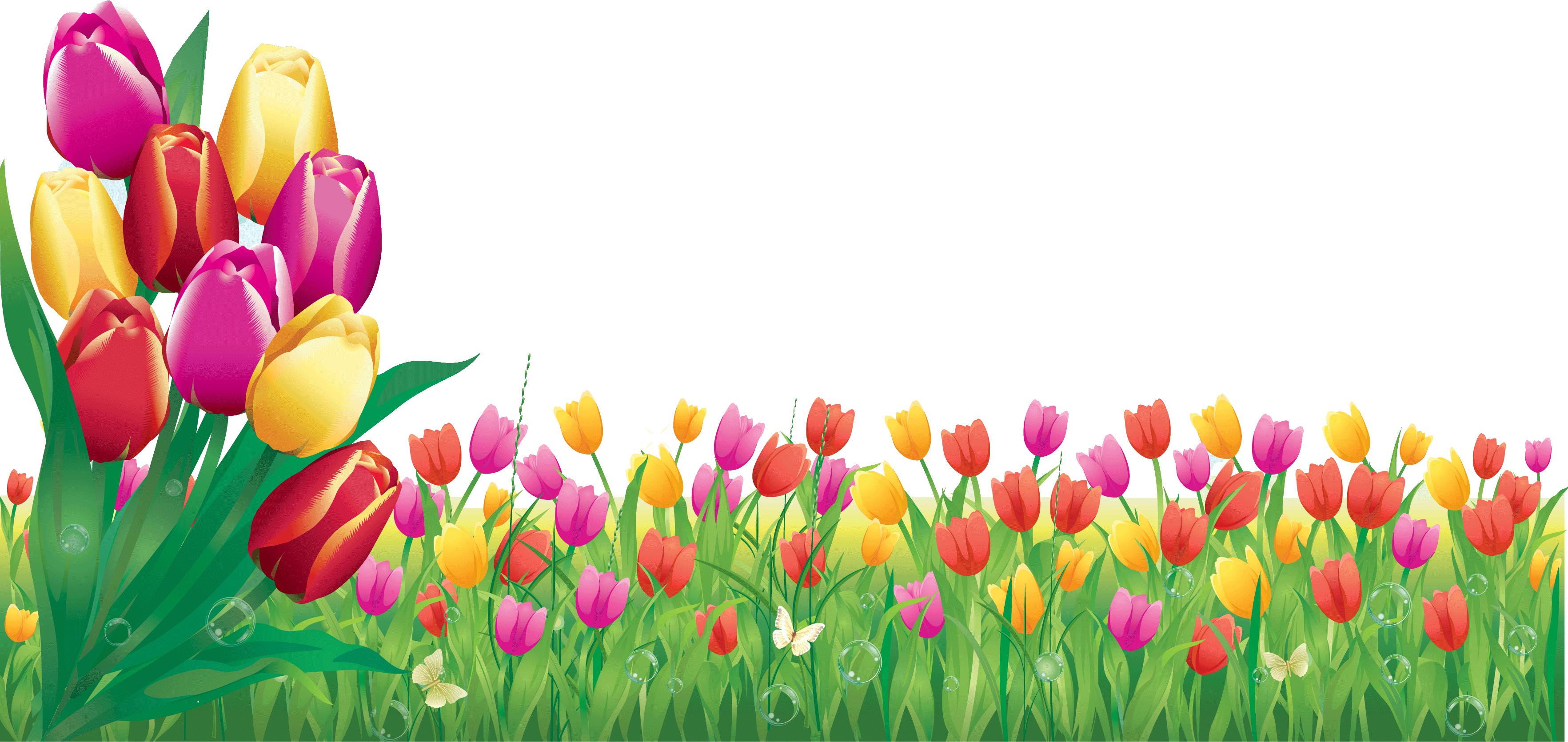 花のイラスト・フリー素材/壁紙・背景no.356『チューリップ畑・透過色』