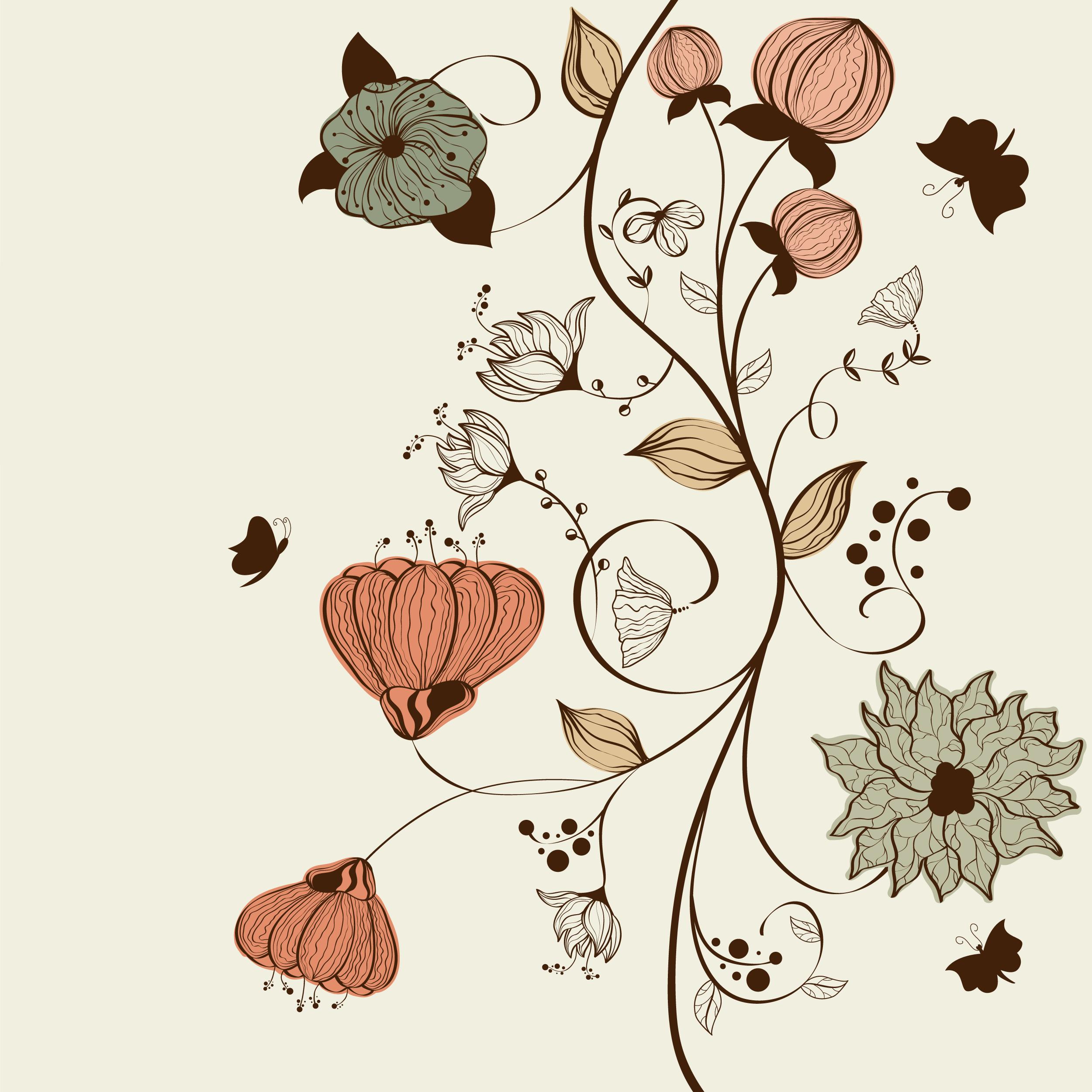 花のイラストフリー素材壁紙背景no133手書き風赤緑茎葉