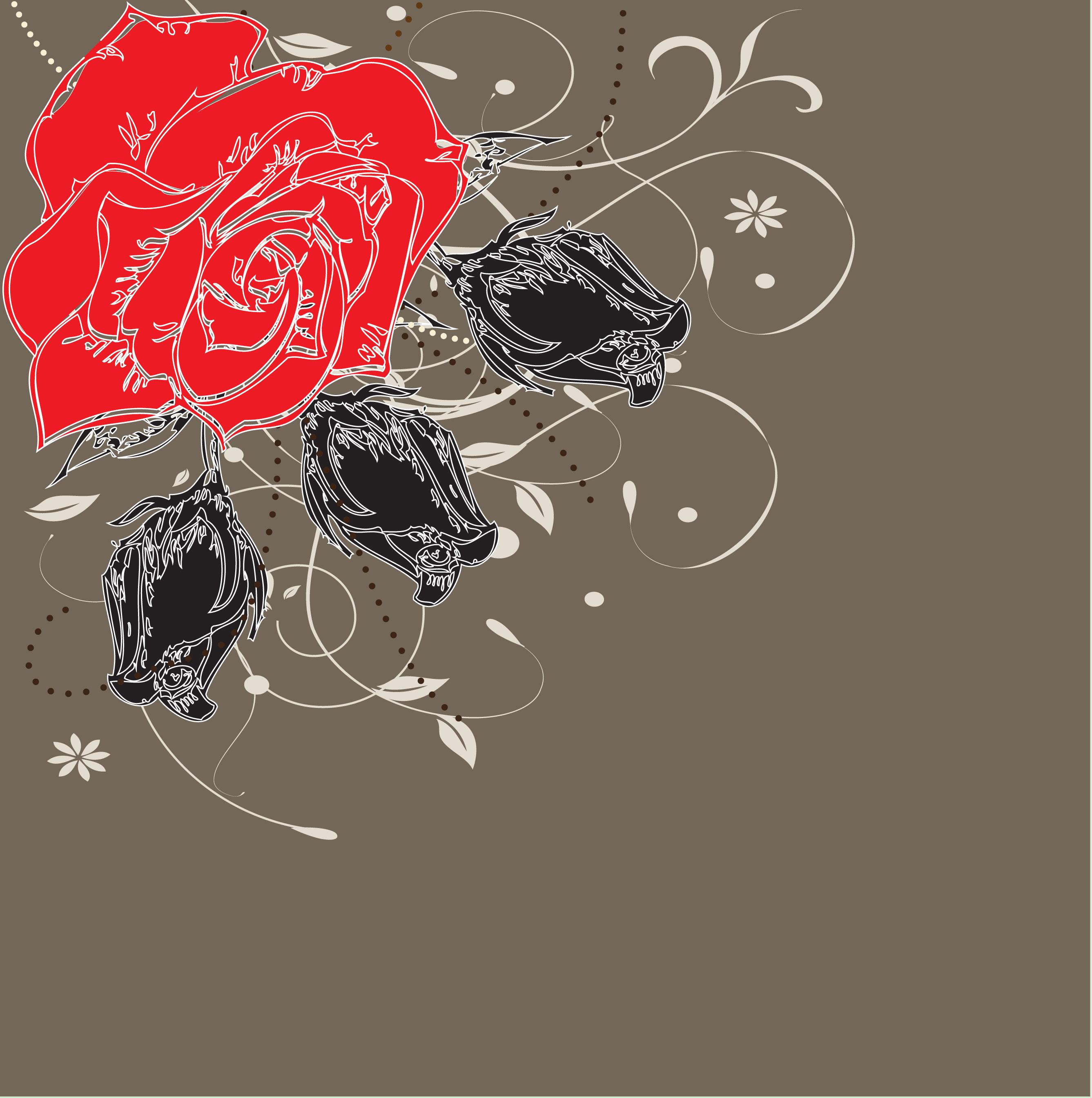 花のイラスト フリー素材 壁紙 背景no 269 赤黒のバラ グレー