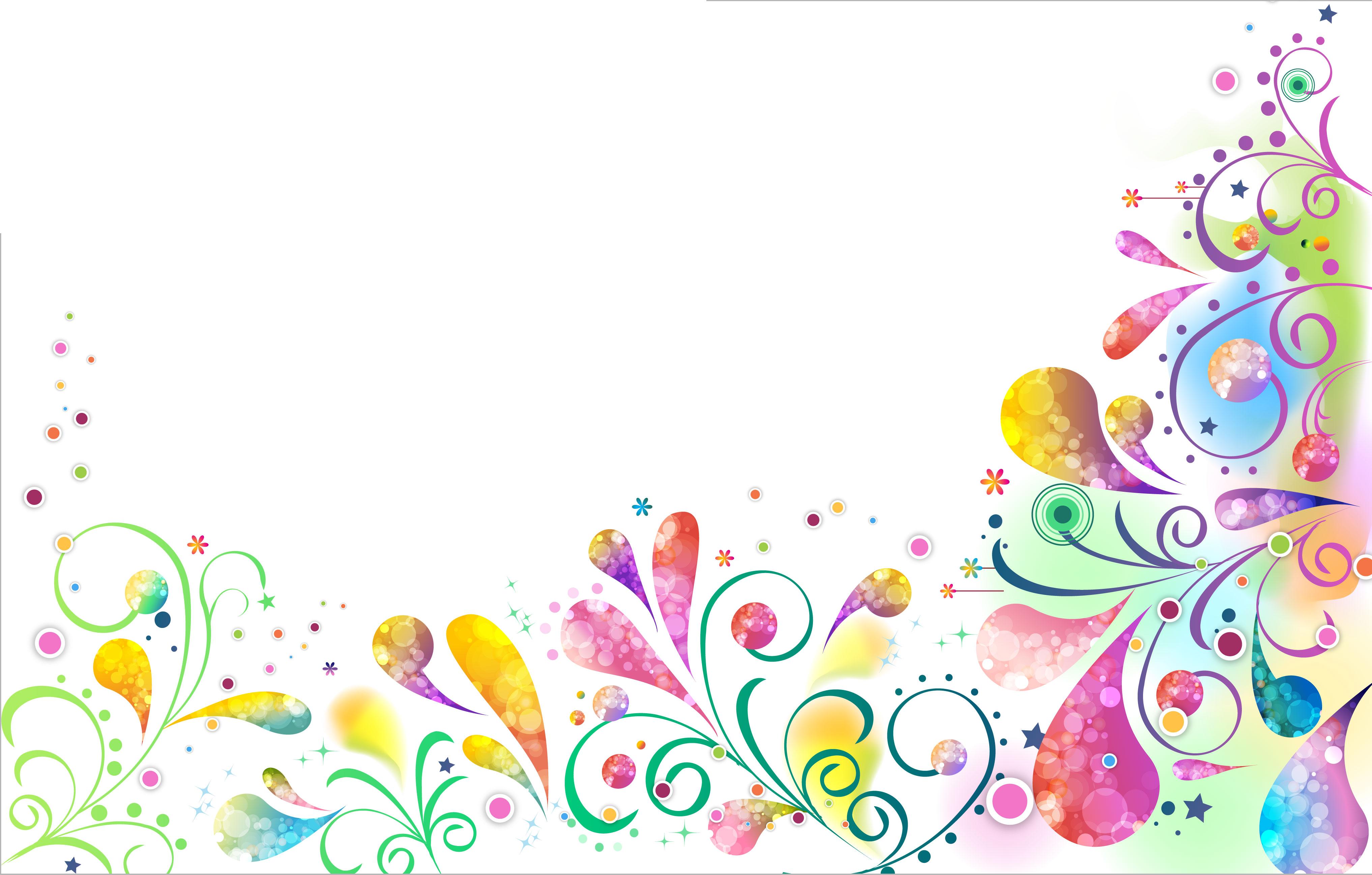 花のイラスト・フリー素材/壁紙・背景no.606『カラフル・淡い・茎葉