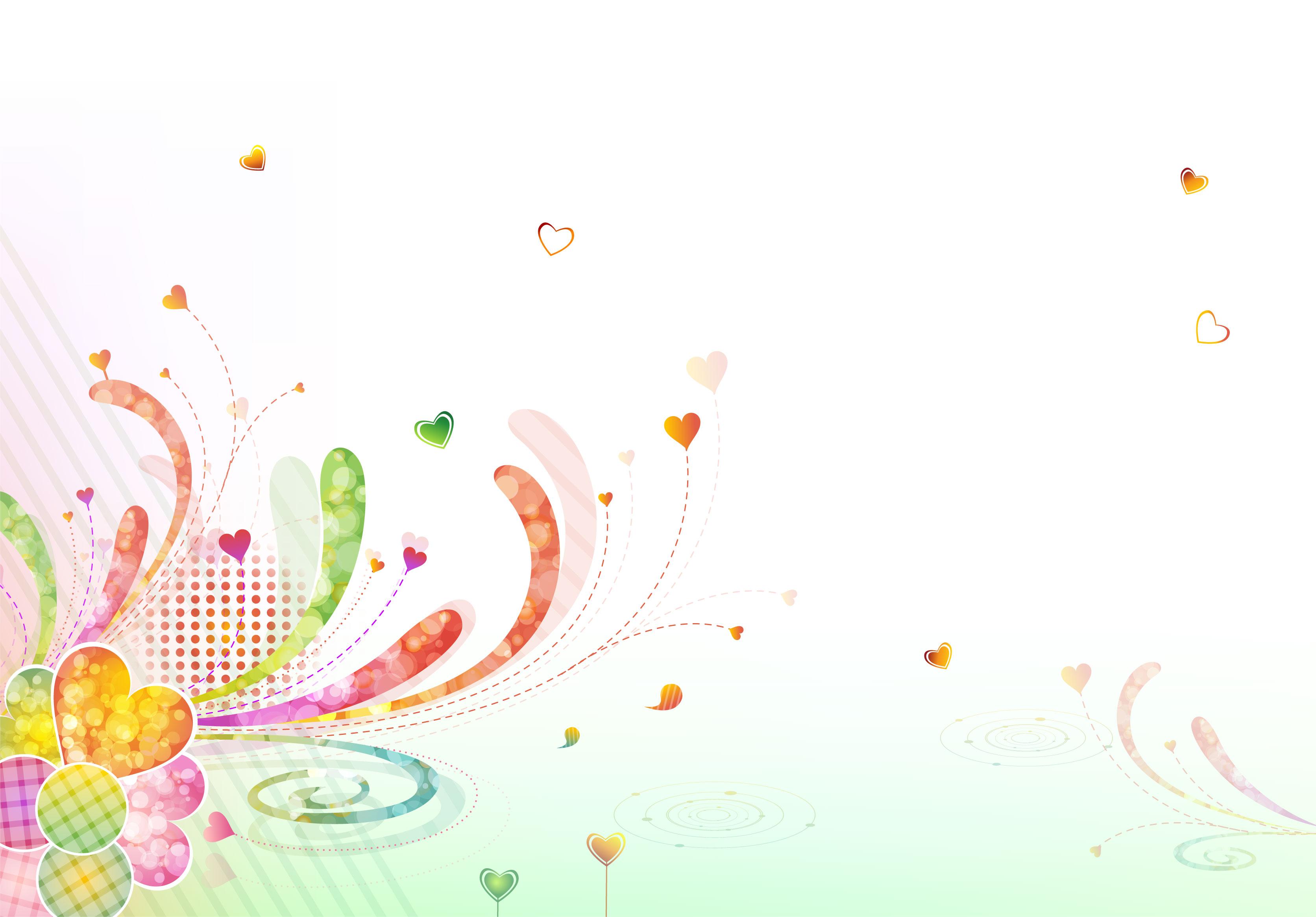 花のイラストフリー素材壁紙背景no608カラフルハート淡い