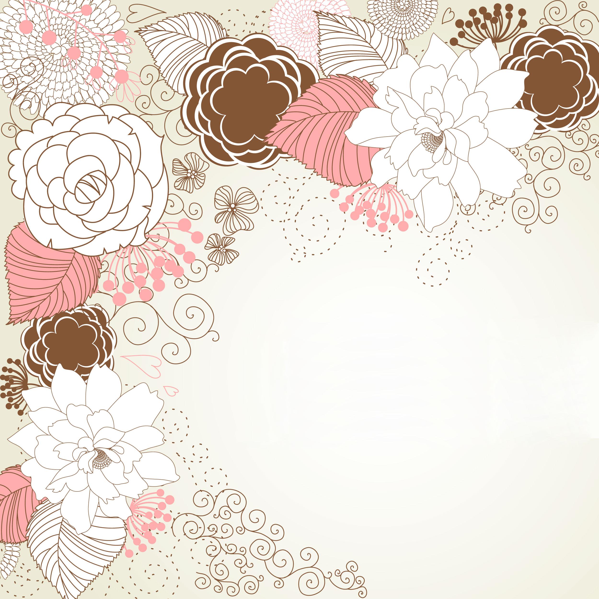 花のイラスト・フリー素材/壁紙・背景no.137『赤白黒・細線・ポップ』