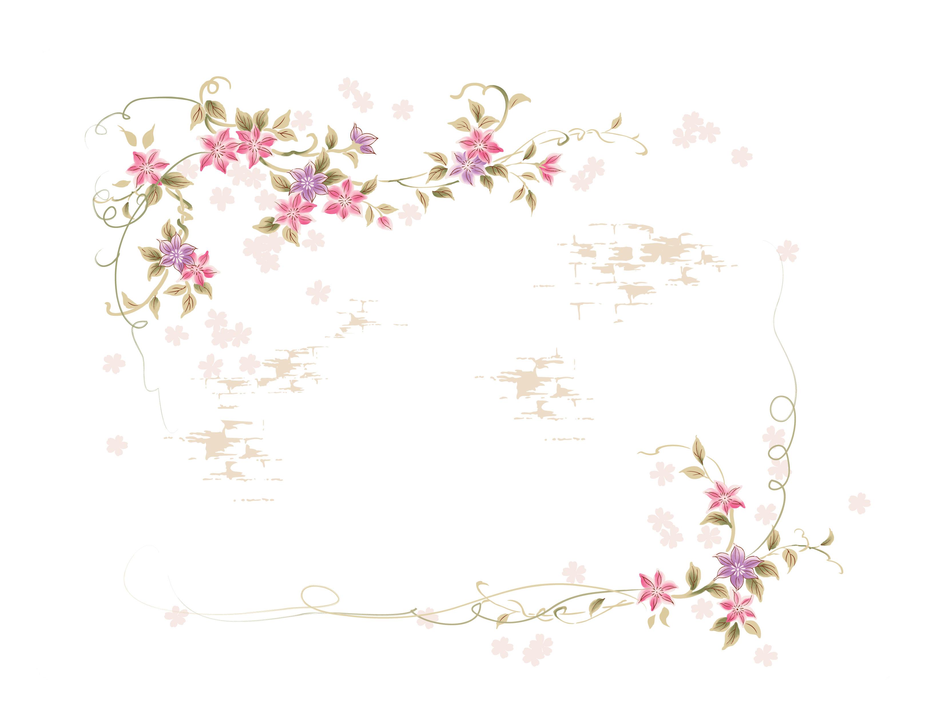 壁紙・背景イラスト/花のフレーム・外枠 no.201『茎葉フレーム・コーナー』