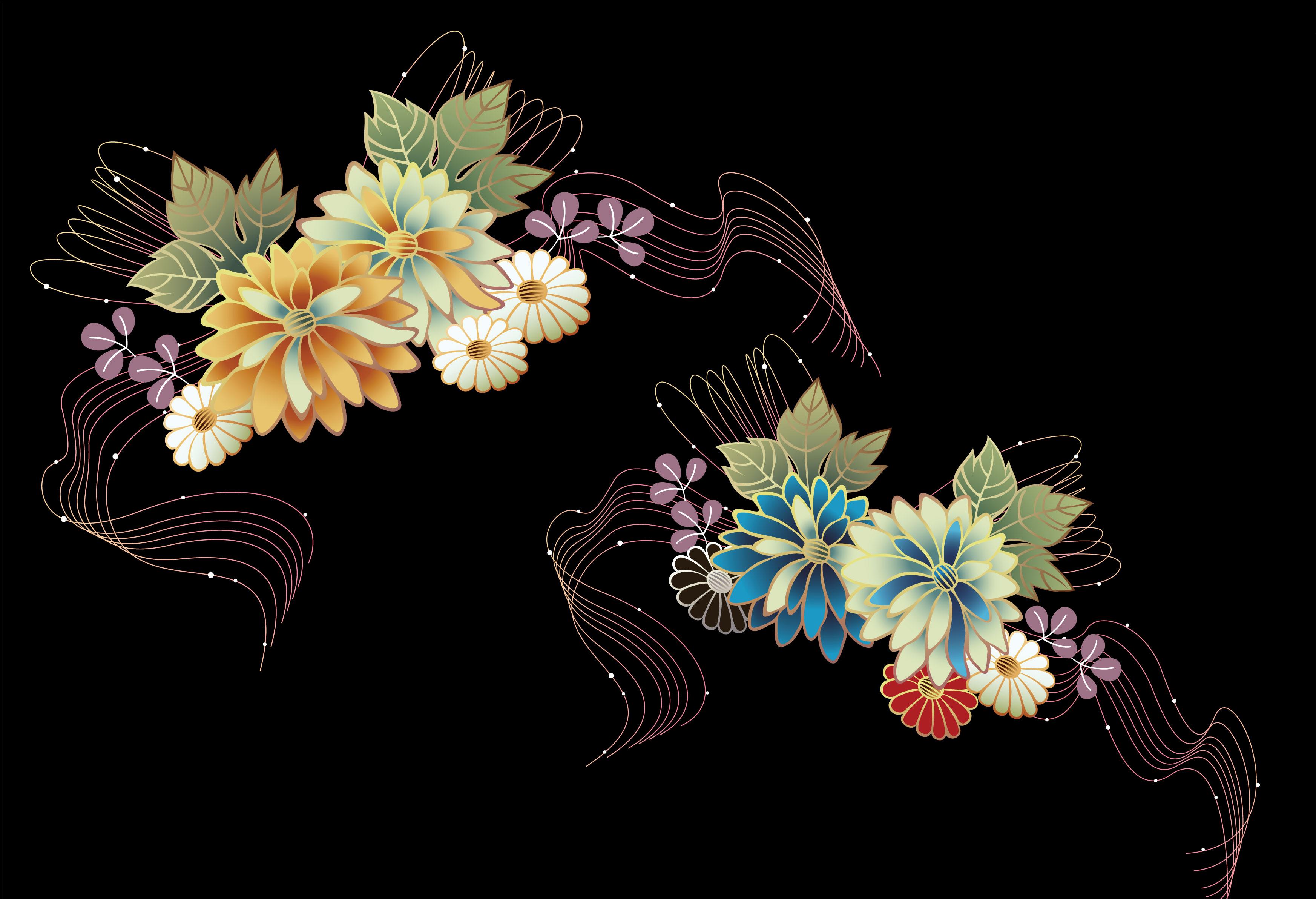 花のイラスト フリー素材 壁紙 背景no 273 カラフル 波線 黒背景