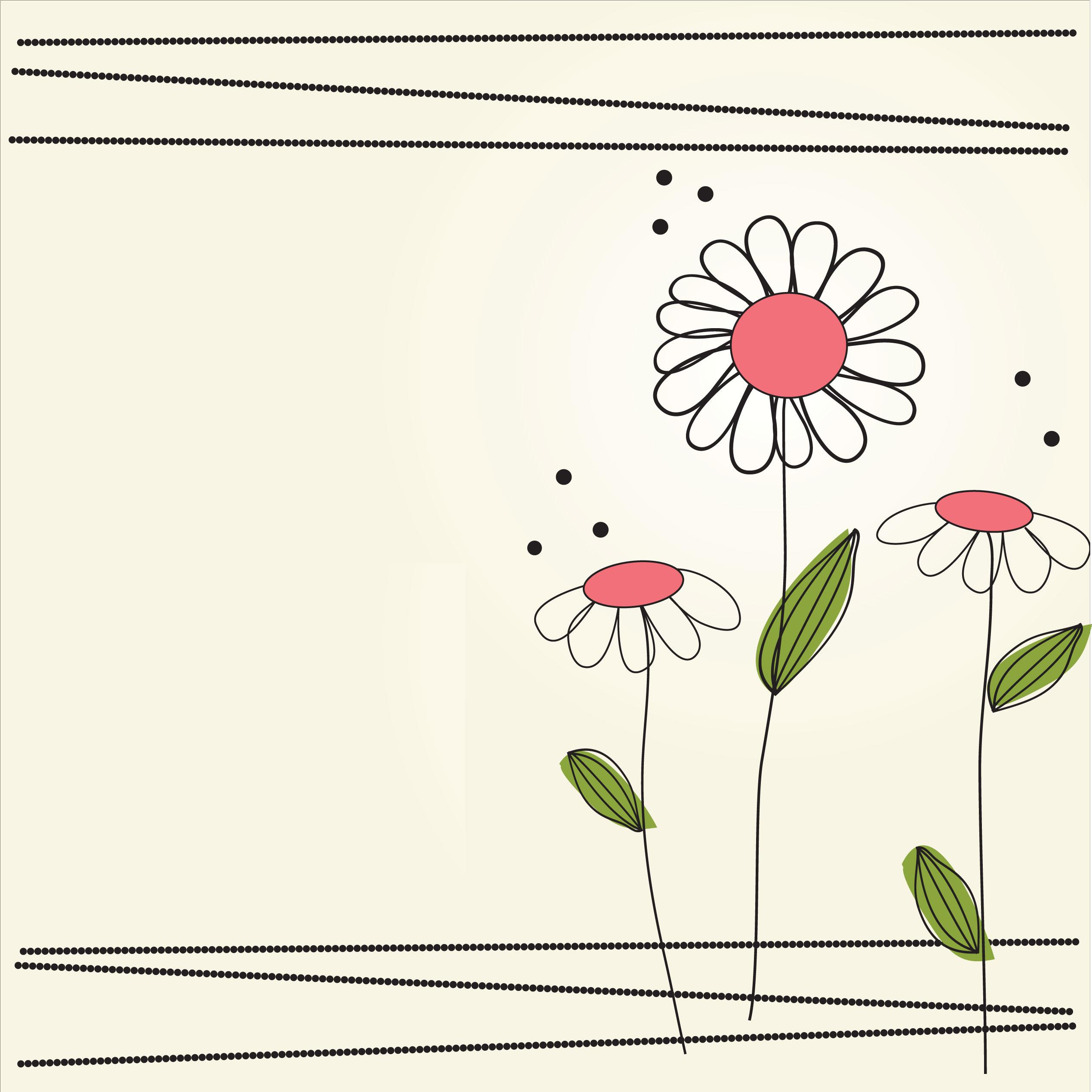 花のイラスト・フリー素材/壁紙・背景no.152『シンプル・ポップ・赤緑』