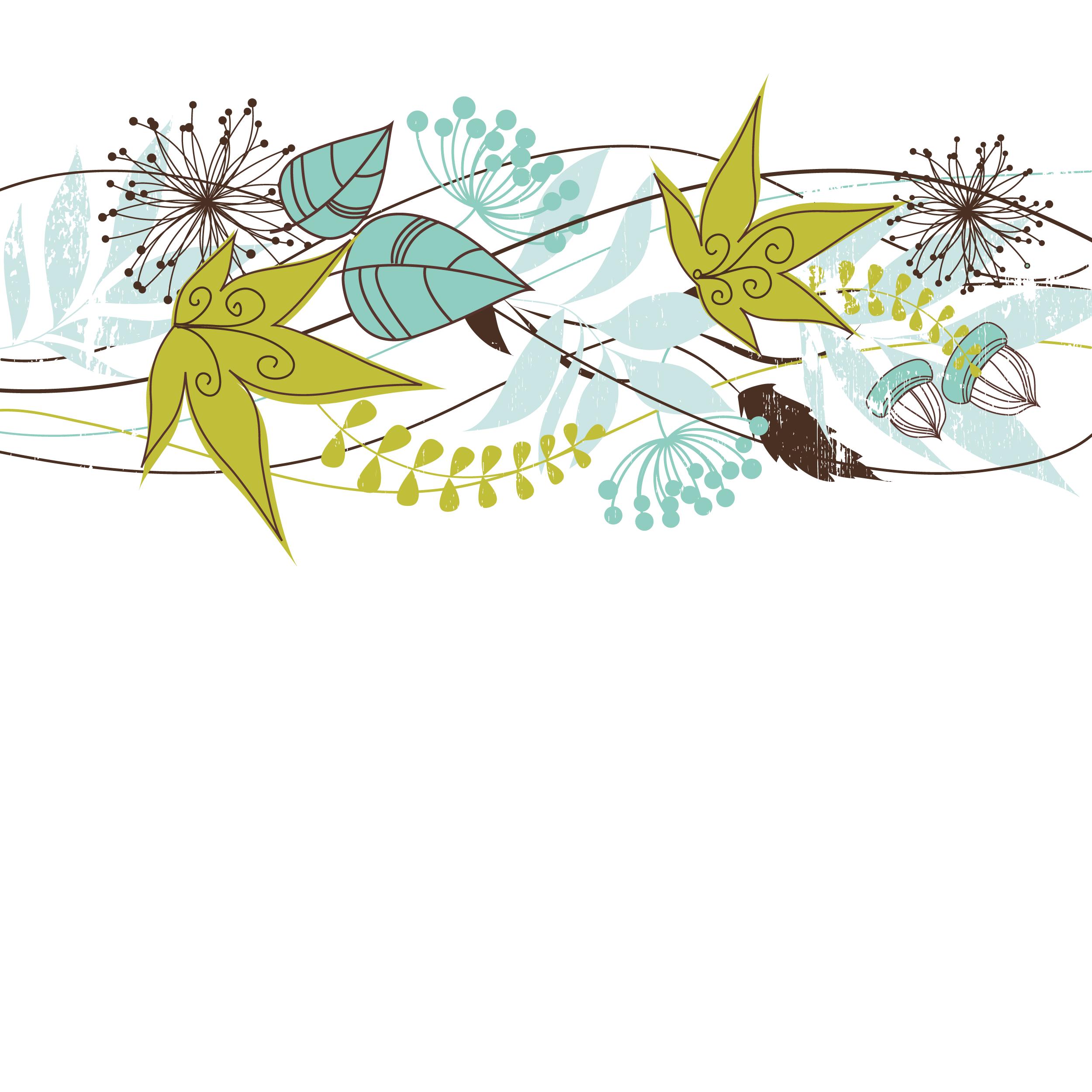 花のイラスト・フリー素材/壁紙・背景no.156『ポップ・秋の葉・どんぐり』