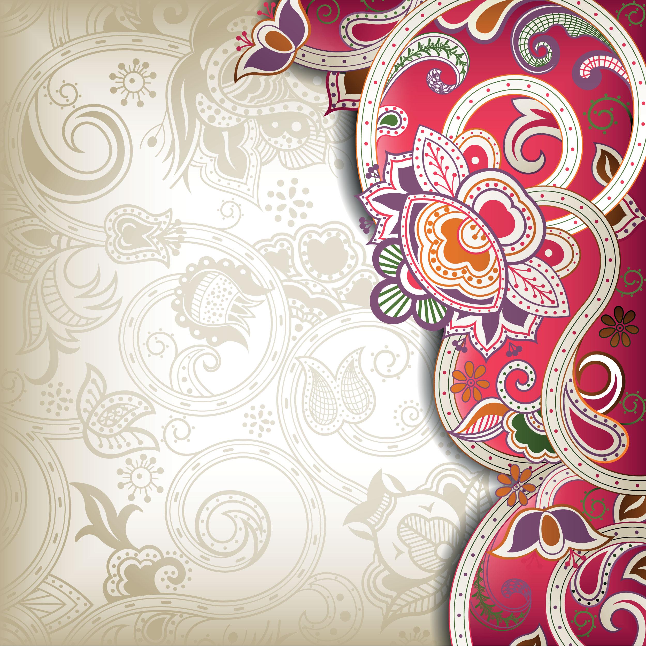 花のイラスト フリー素材 壁紙 背景no 648 茎葉模様 装飾 赤