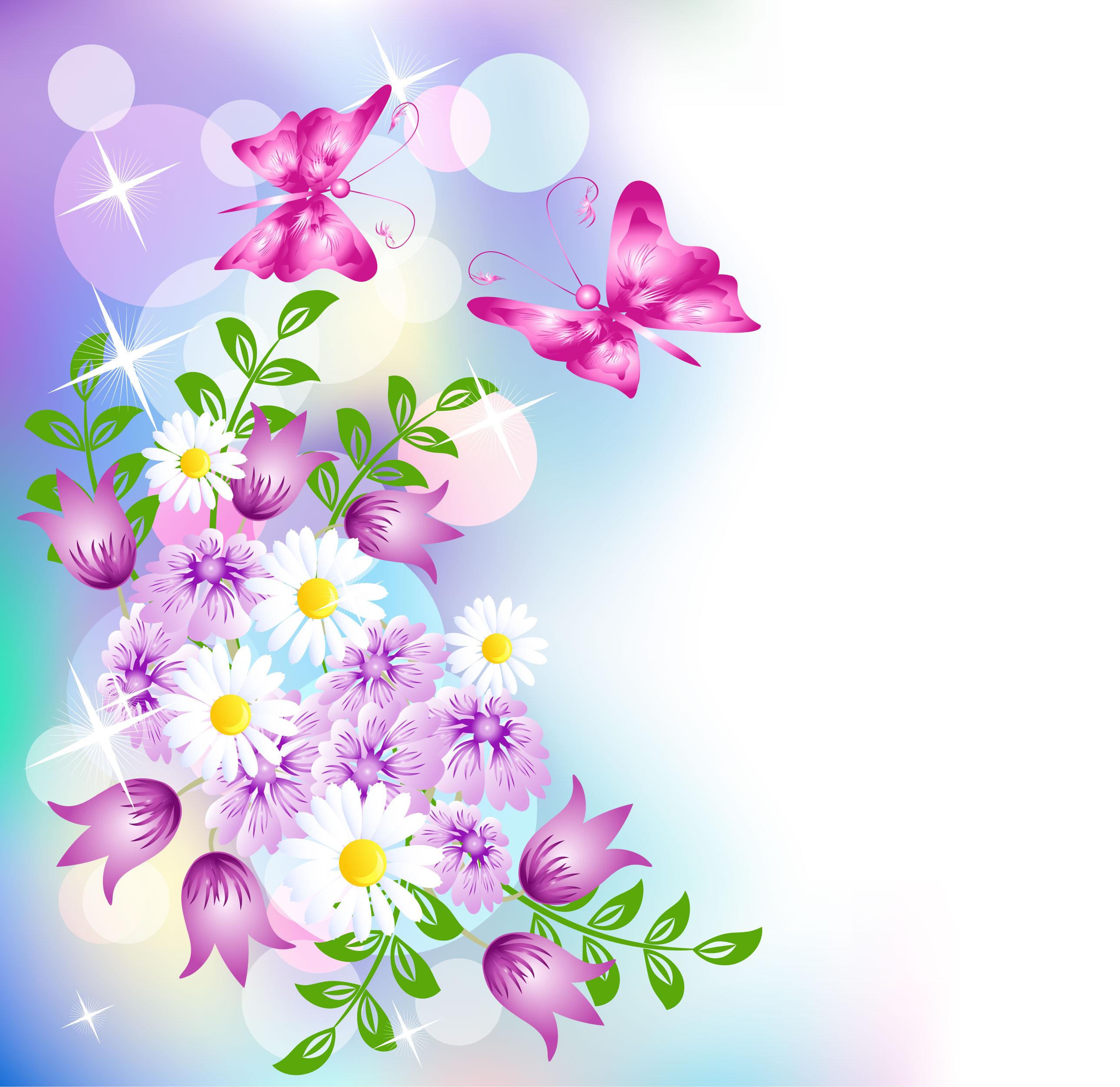花のイラスト・フリー素材/壁紙・背景no.649『赤紫・白・光彩・輝き』