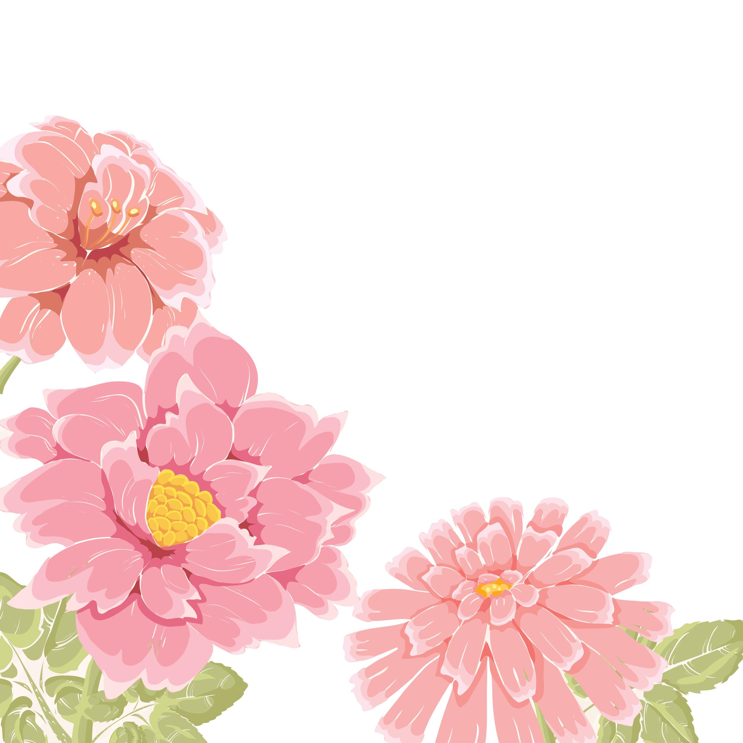 花のイラスト・フリー素材/壁紙・背景no.662『ピンクの花々・透過色』